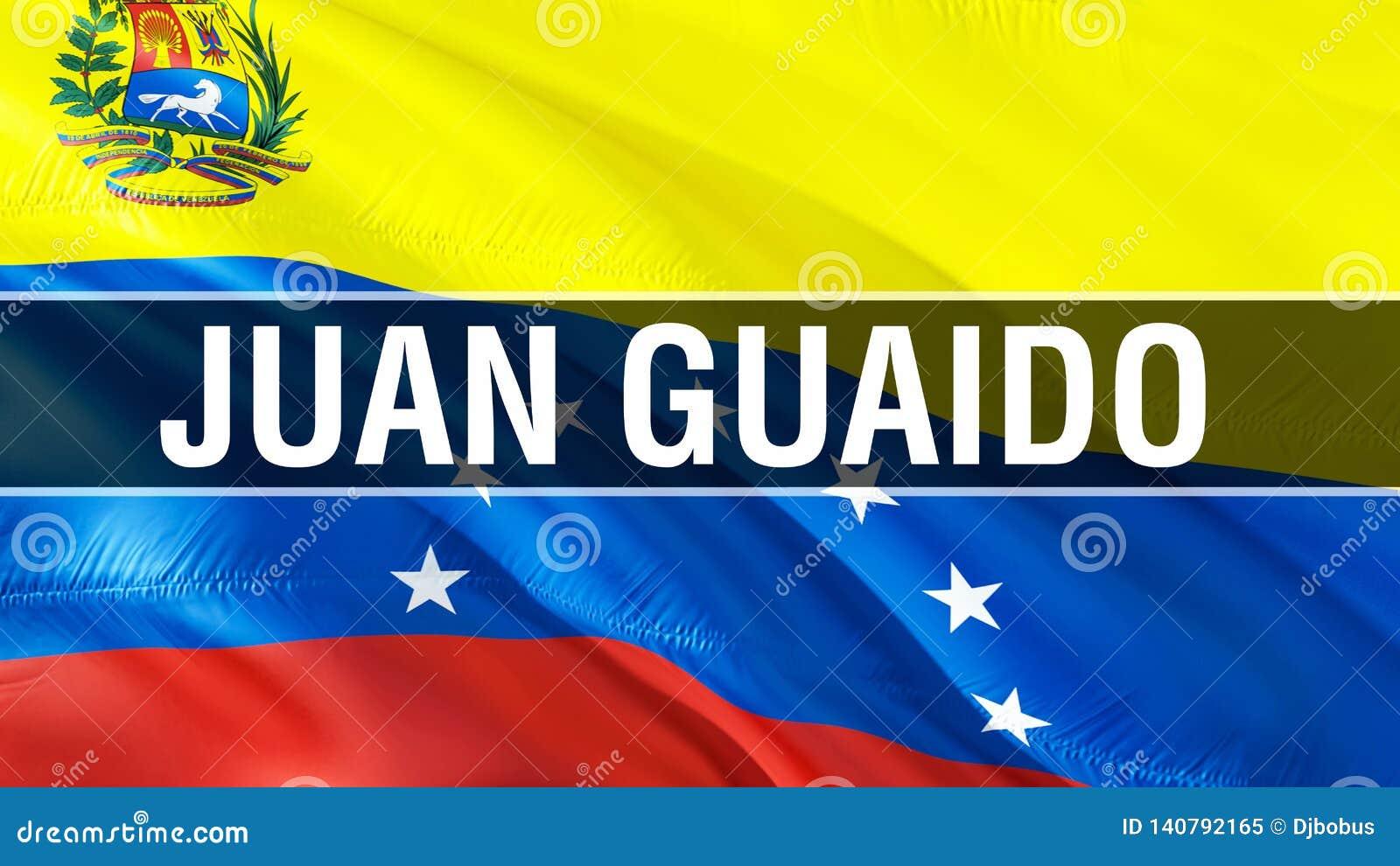 Juan Guaido on Venezuela flag. 3D Waving flag design. The national symbol of Venezuela, 3D rendering. National colors and National