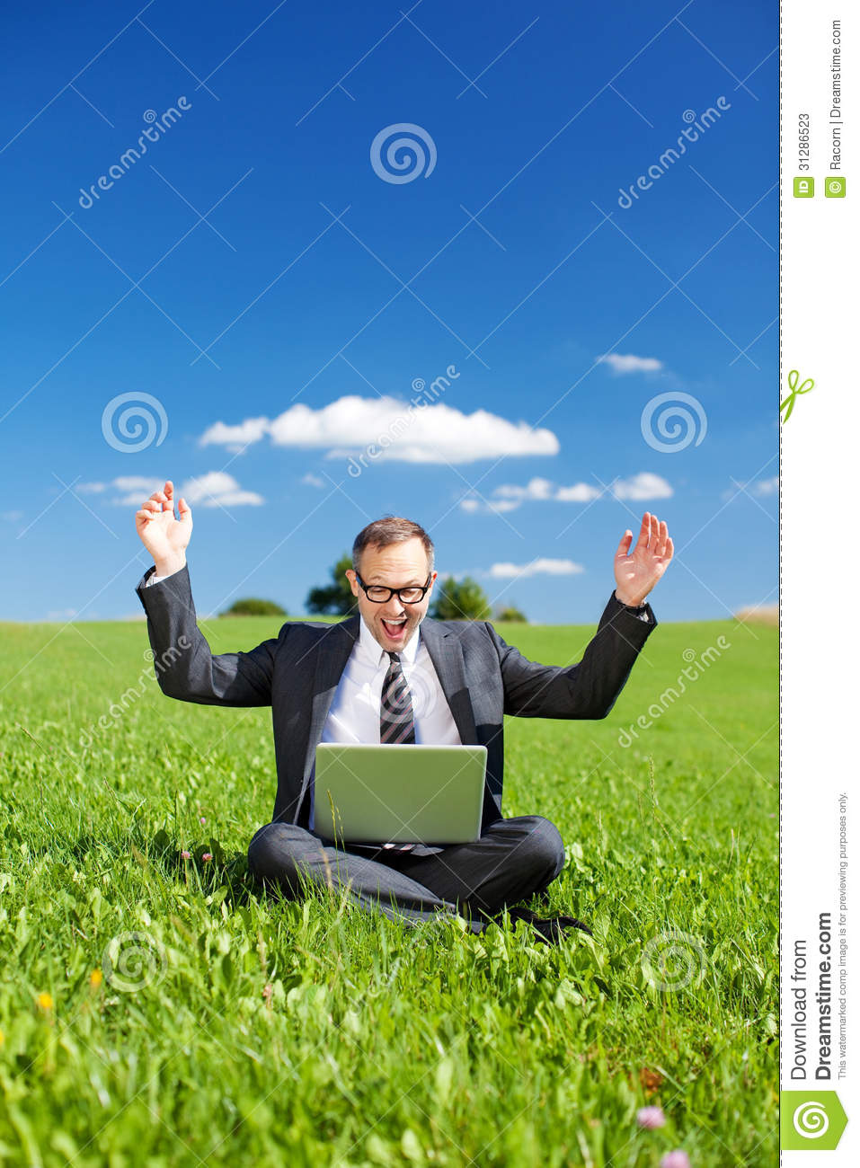 Jubilant Manager In A Green Grassy Field Stock Photos ...