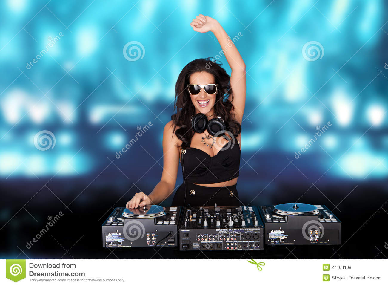 Jubilant Sexy Female Disc Jockey Royalty Free Stock Photos Image 27464108