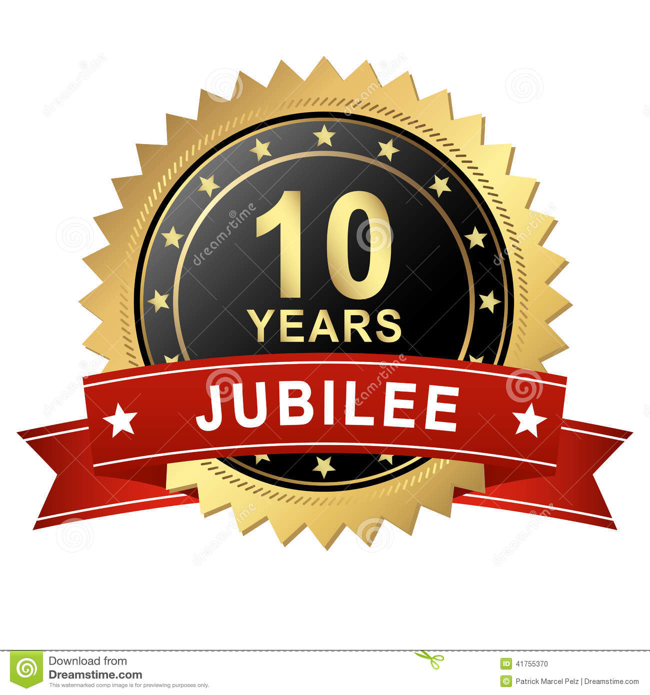 Jubilee Button With Banner 10 Years Stock Vector Image