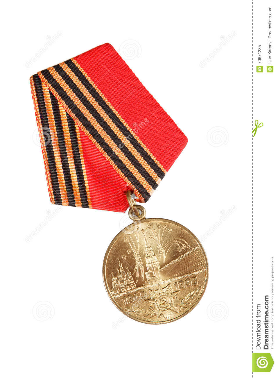 Jubilee Medal 50 Years of Victory in Great Patriotic War. isolated on white. illustrative editorial.