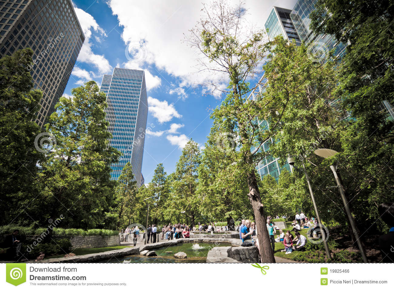 jubilee park at canary wharf london editorial photo