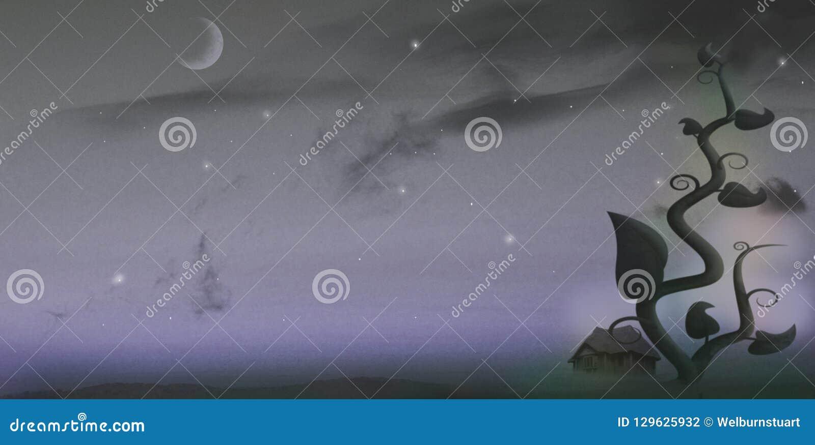 Judía gigante en la noche