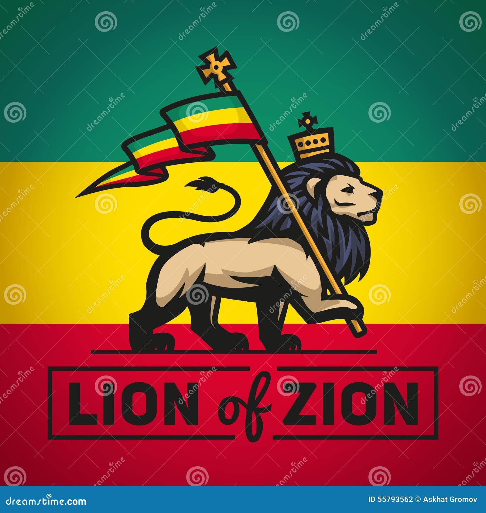 Judahleeuw met een rastafarivlag Koning van Zion