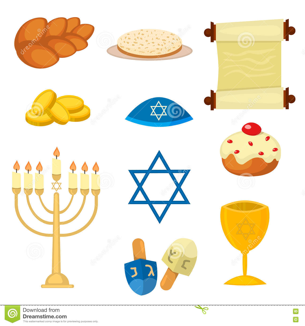 Judaism Church Traditional Symbols Icons Set Isolated Vector