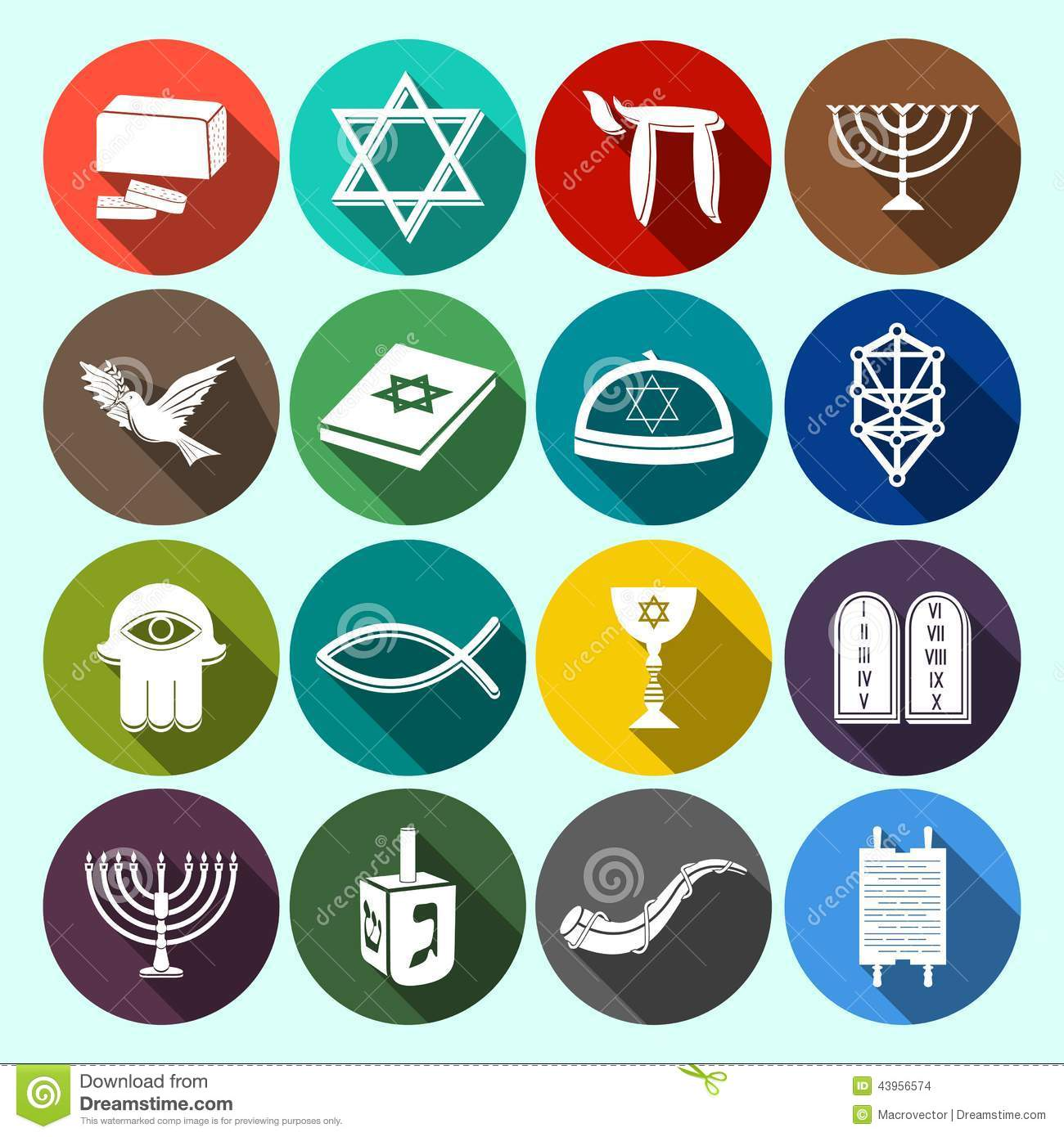 ... icons set with torah david star dreidel isolated vector illustration