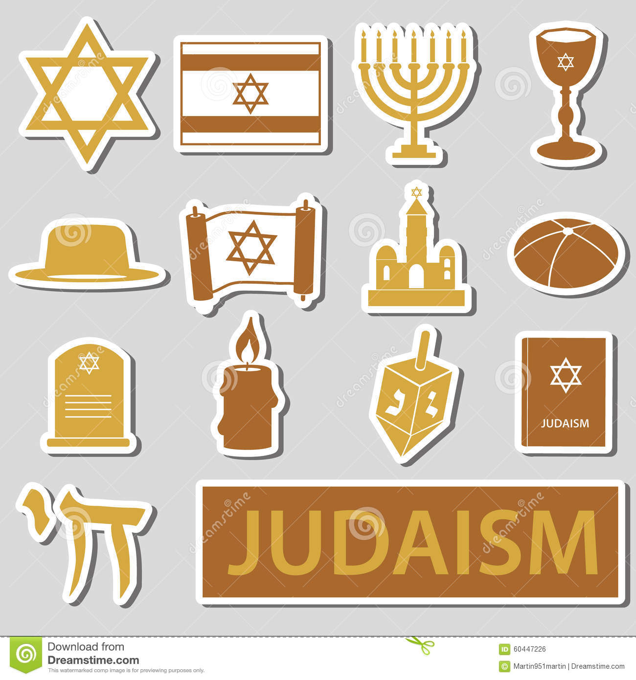 Set Of Of Judaism Symbols Stock Vector Illustration Of Papyrus