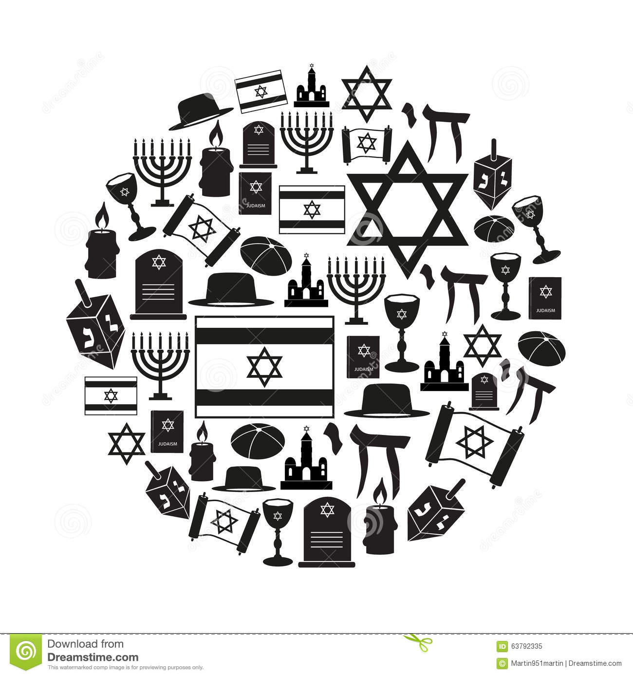 Judaism Religion Symbols Vector Set Of Icons In Circle Eps10 Stock
