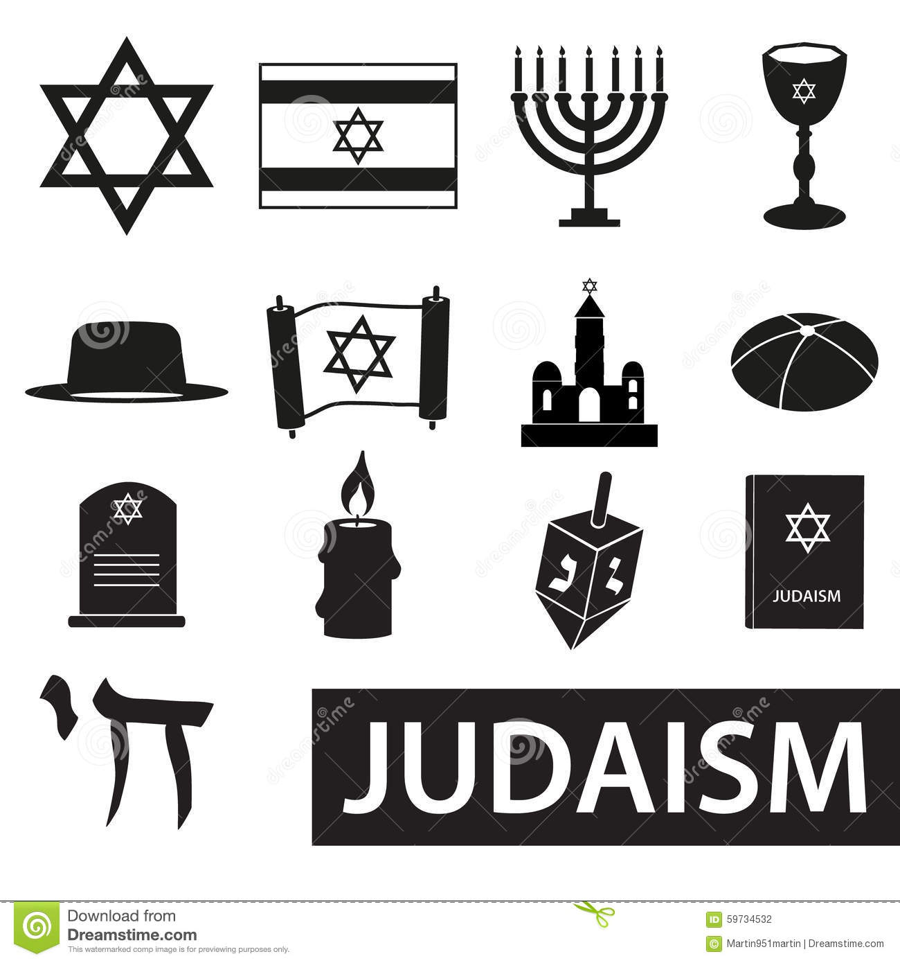 Judaism Religion Symbols Vector Set Of Icons Eps10 Stock Vector