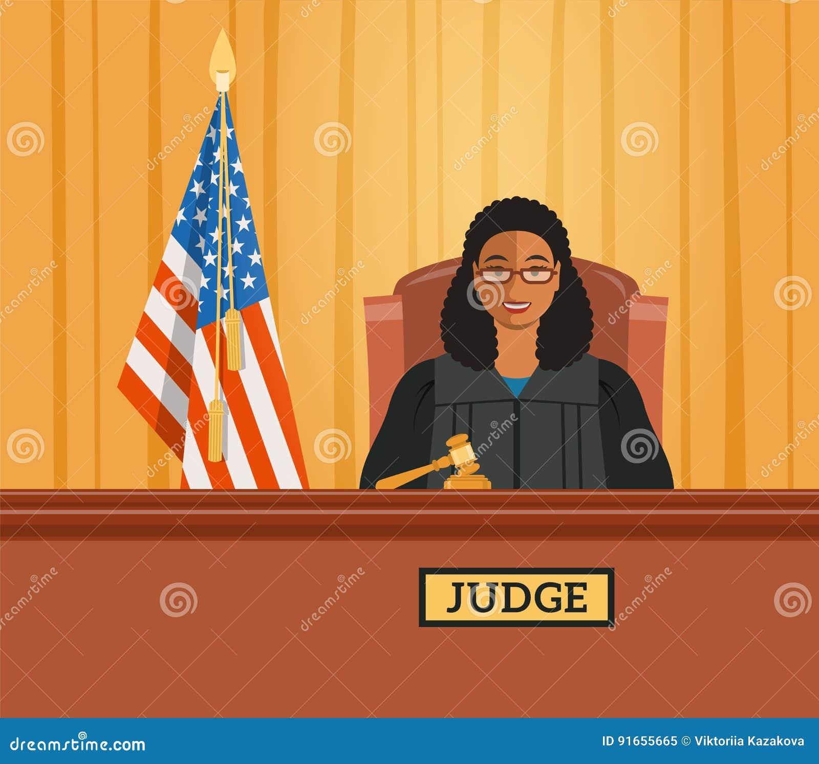 Judge Black Woman In Courtroom Vector Flat Illustration ...