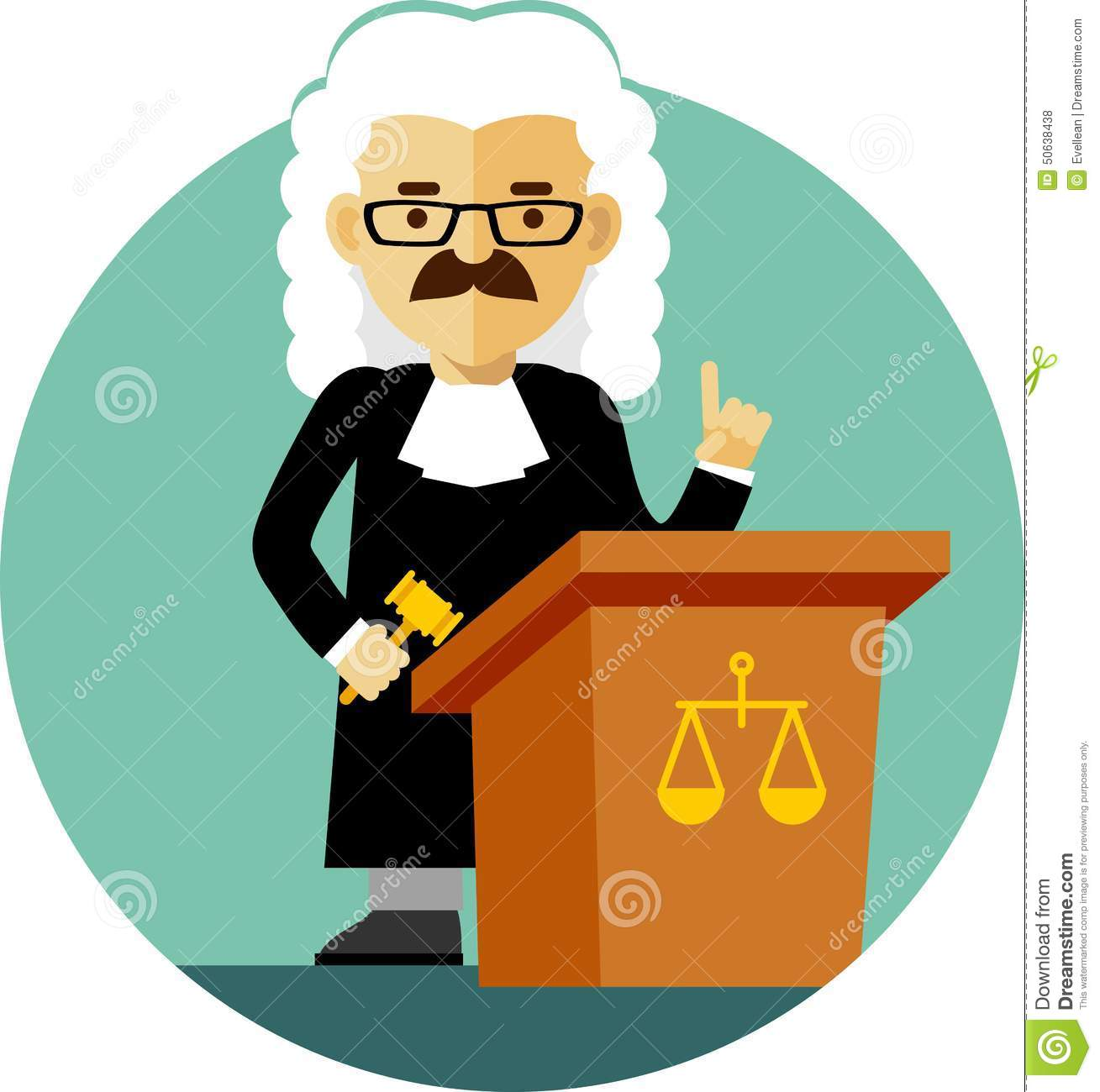 Judge With Gavel In Flat Style Stock Vector - Illustration of hammer ...