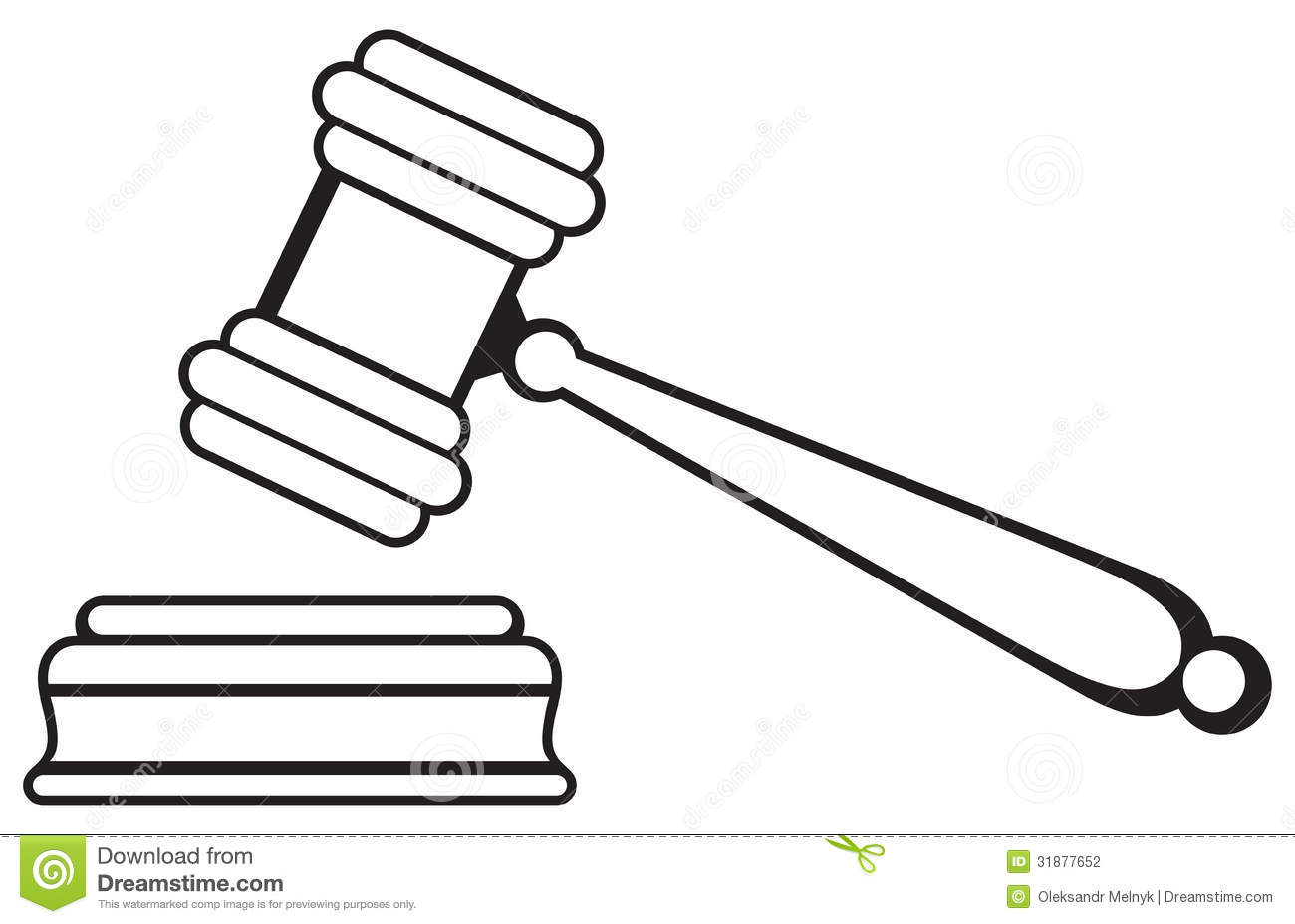 Judge gavel isolated on white background. Silhouette.