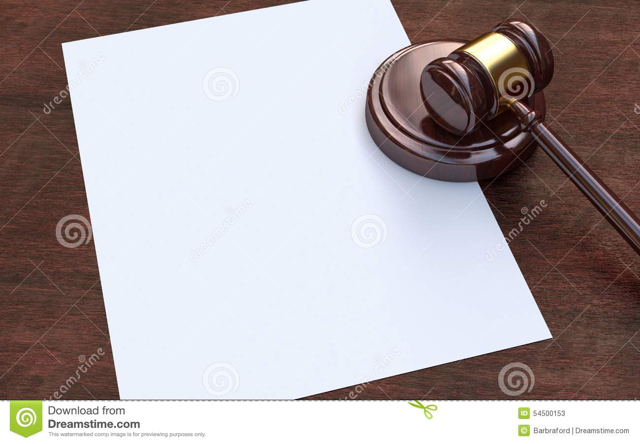 Judge gavel and paper on the brown wooden background