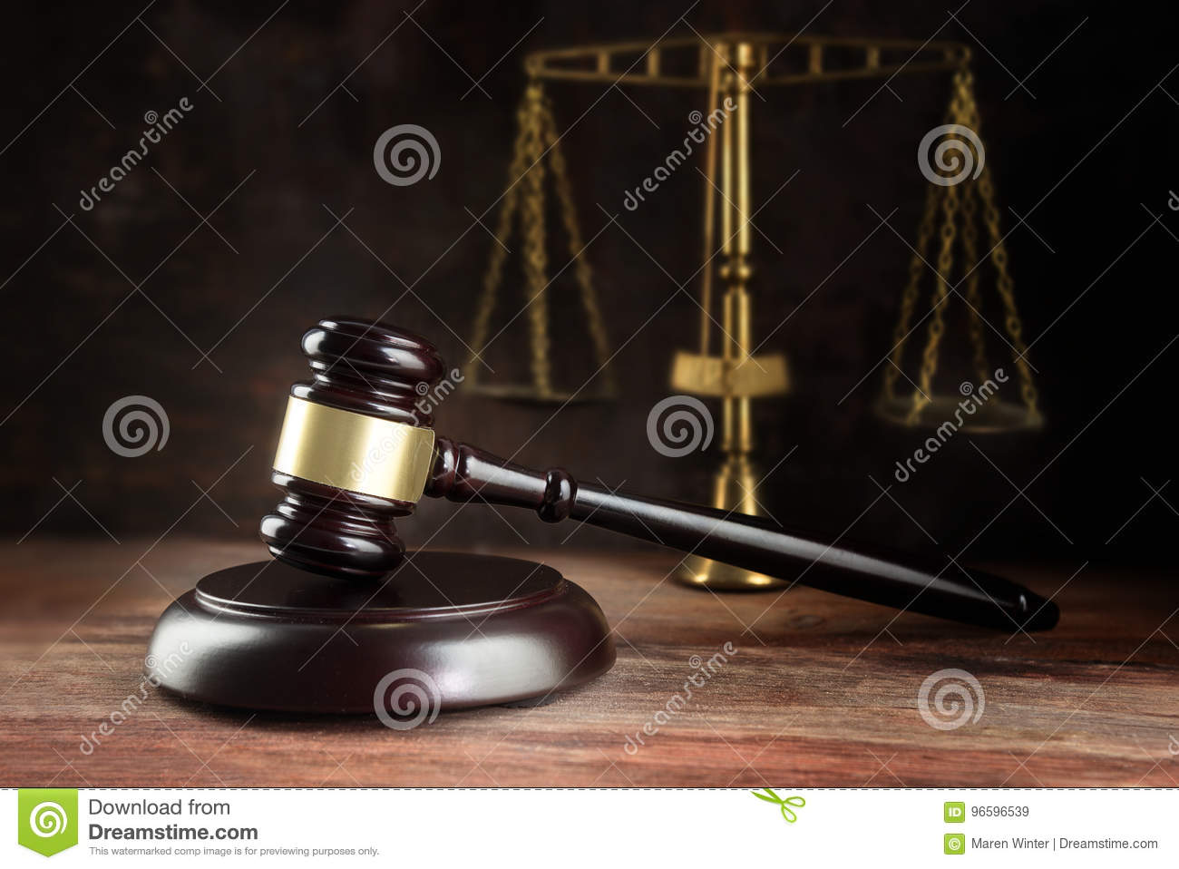 Judge Gavel And Scales On A Wooden Desk Symbol For Balance And