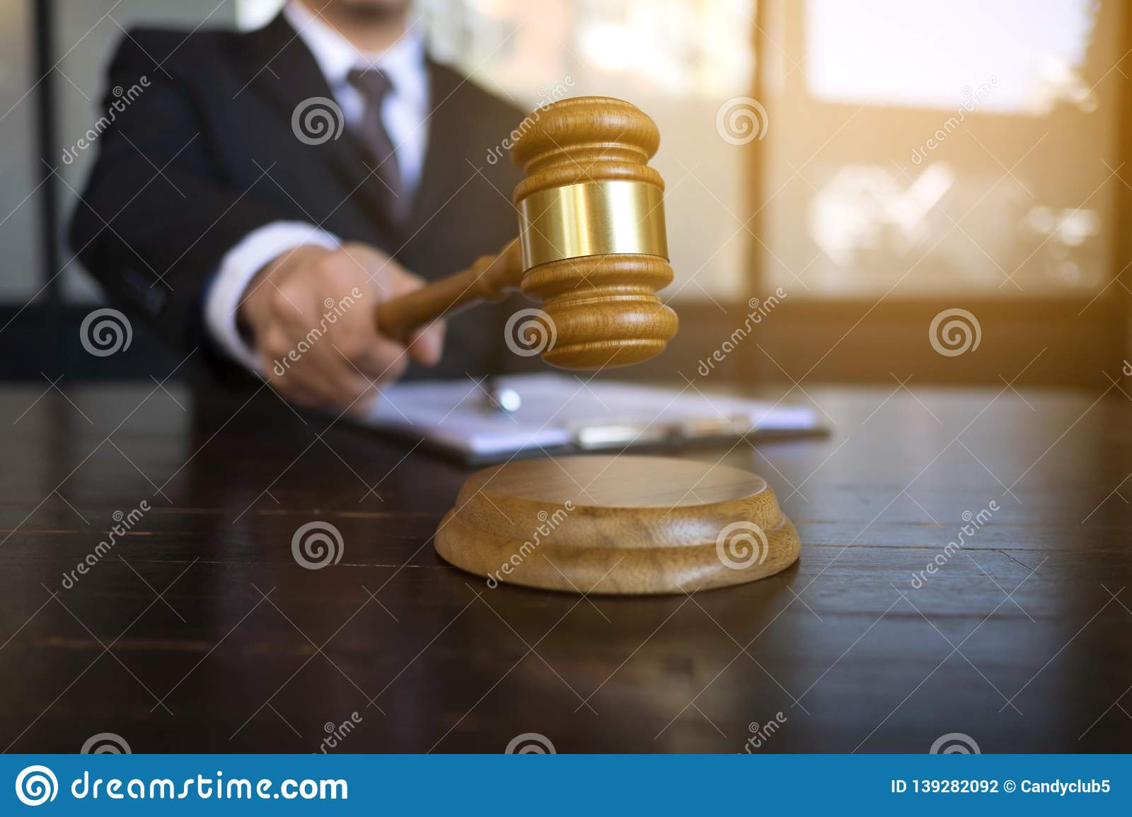 Judge with gavel on table. attorney, court judge,tribunal and justice concept