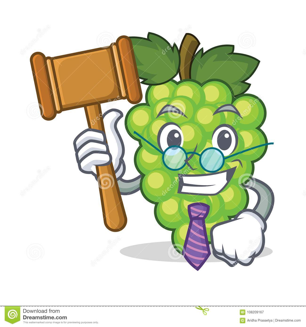 Judge green grapes mascot cartoon