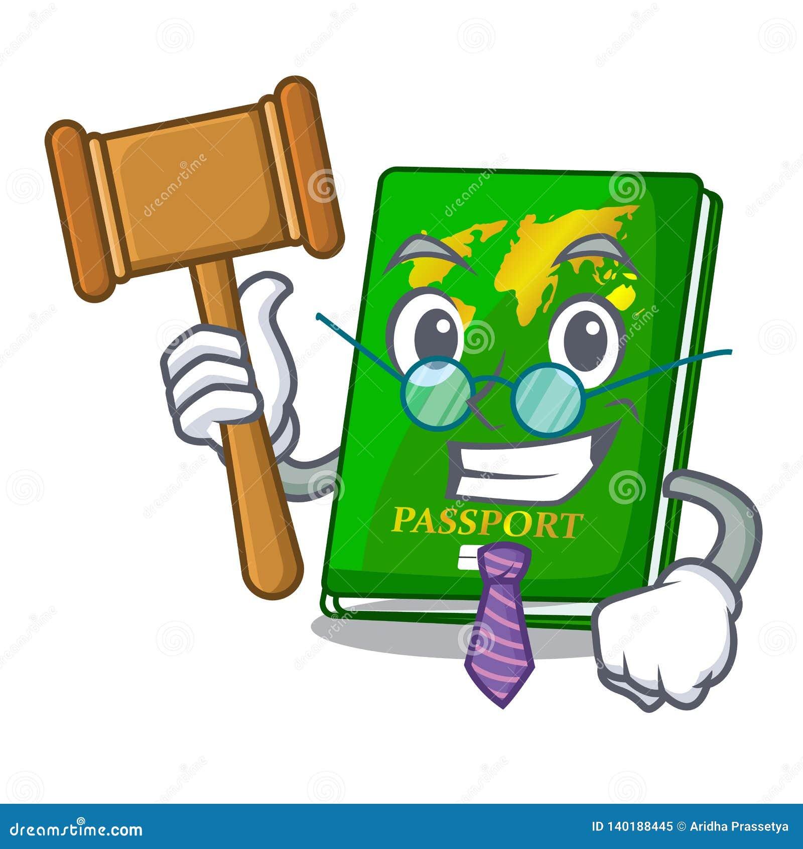 Judge green passport on the mascot table