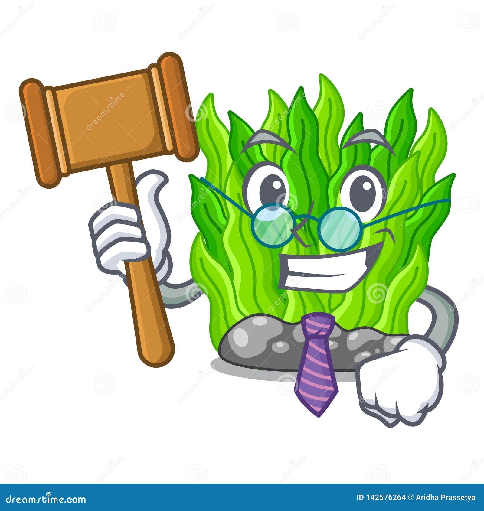 Judge green seaweed in a cartoon aquarium