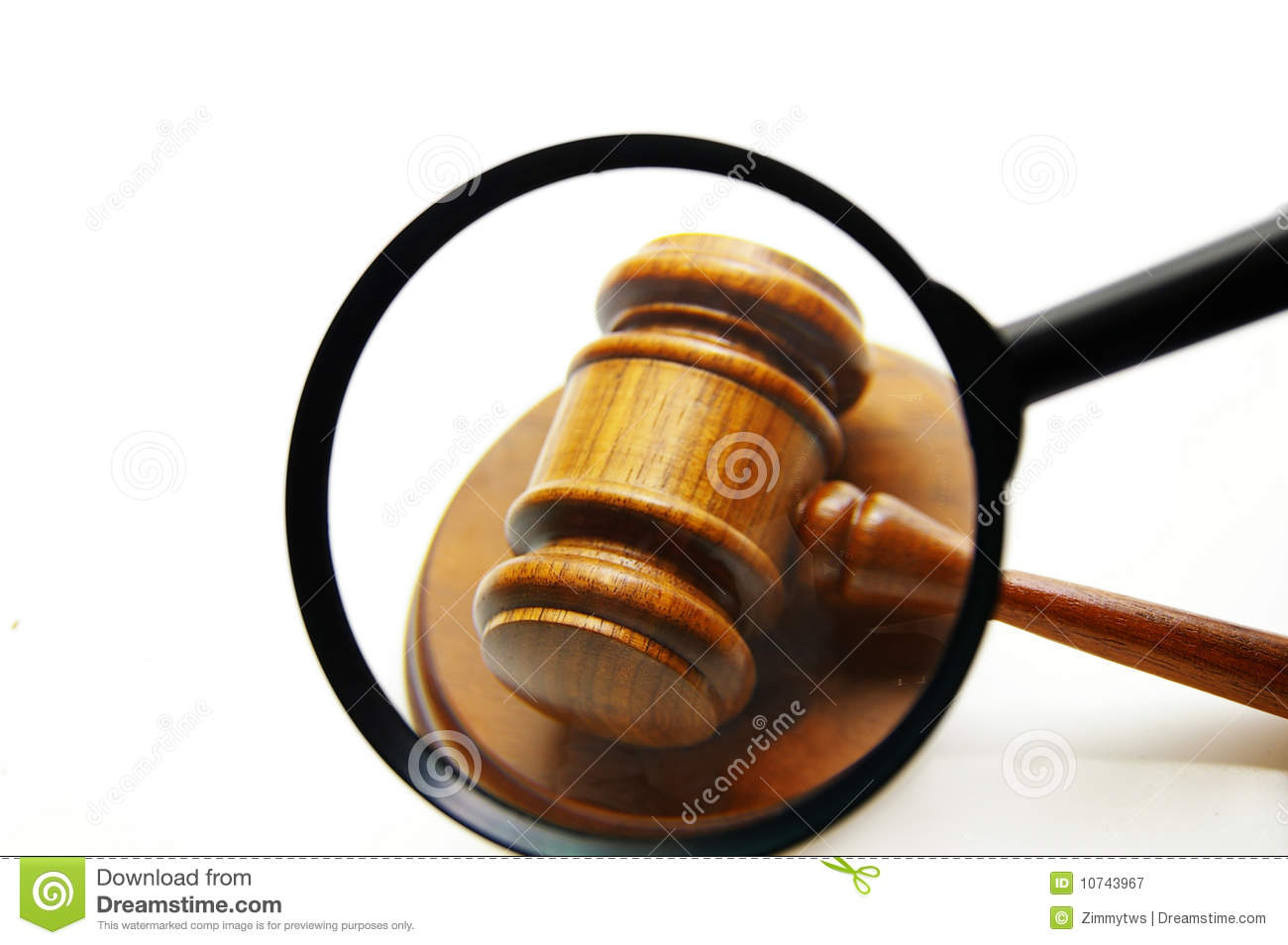 Magnifying Glass Examining A Judges Court Gavel Seek Justice
