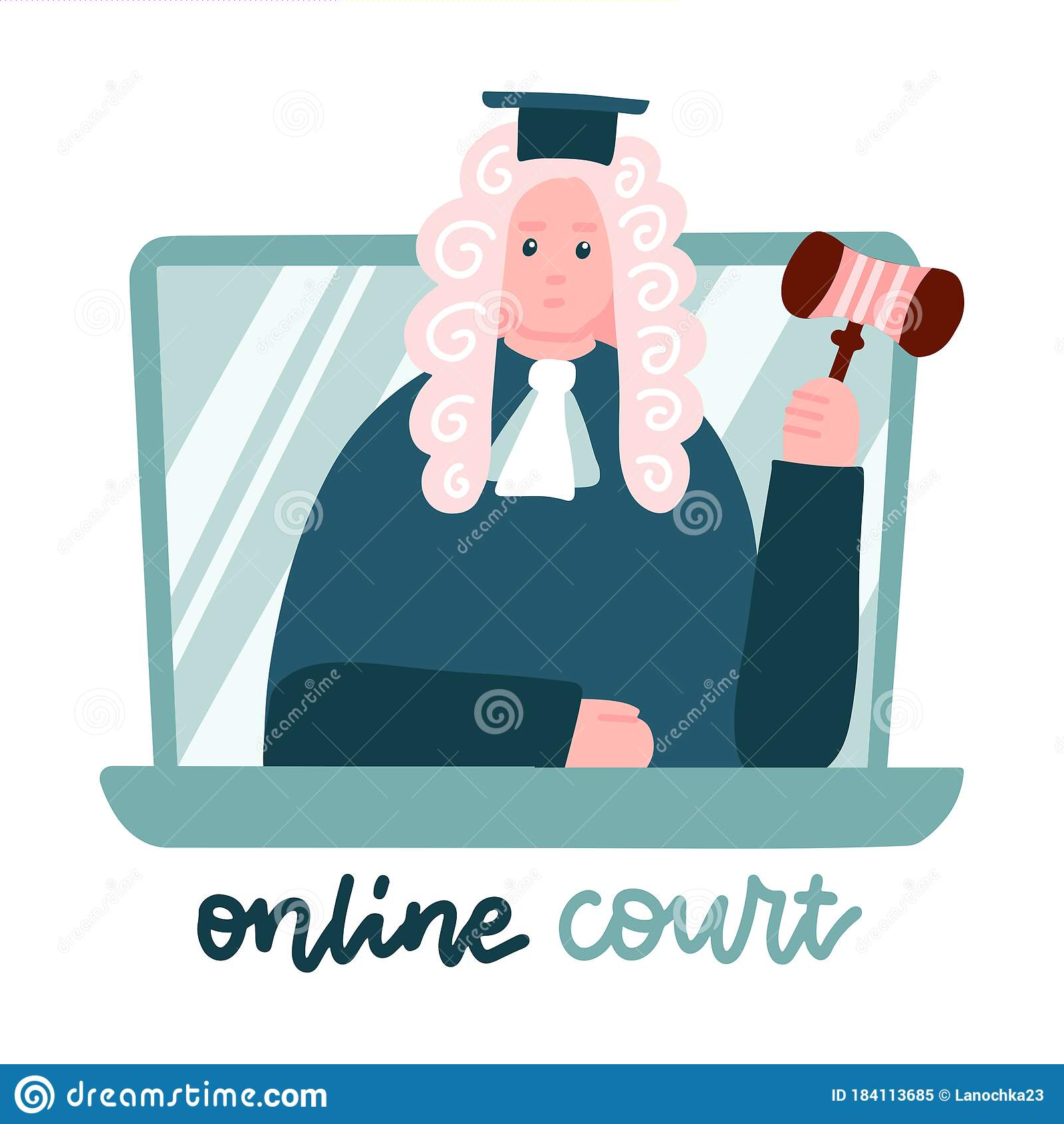 Judge In A Wig On Laptop Screen. Computer Online Legal