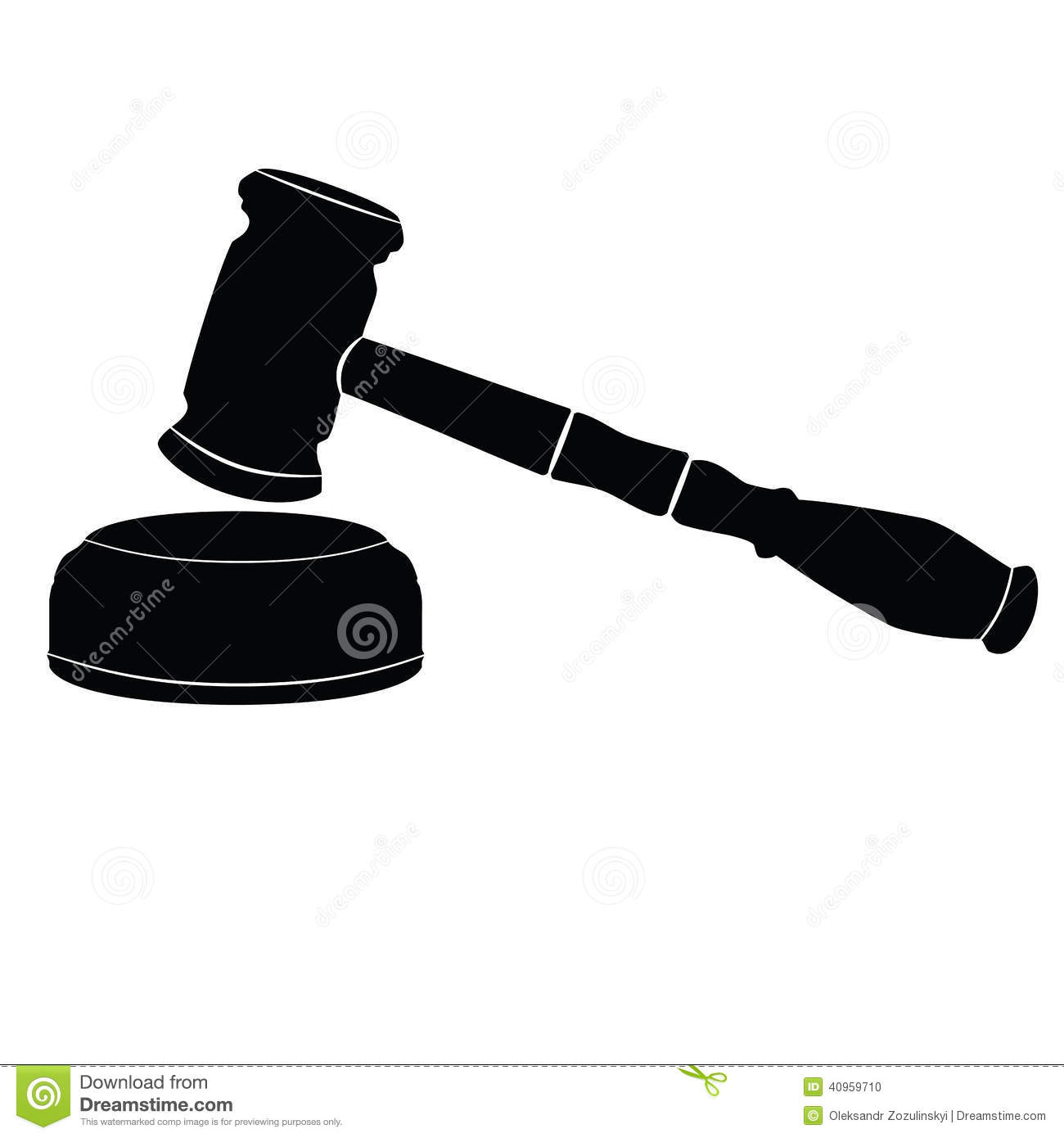 Judicial Gavel On White Background. Icon. Stock ...