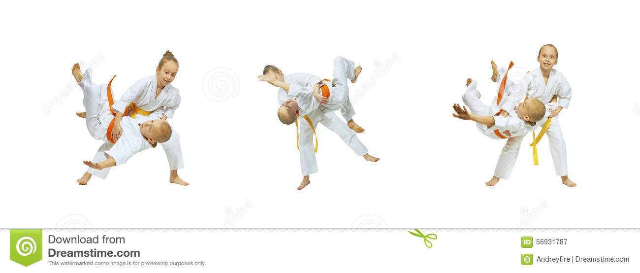 Judo Throws are doing children collage