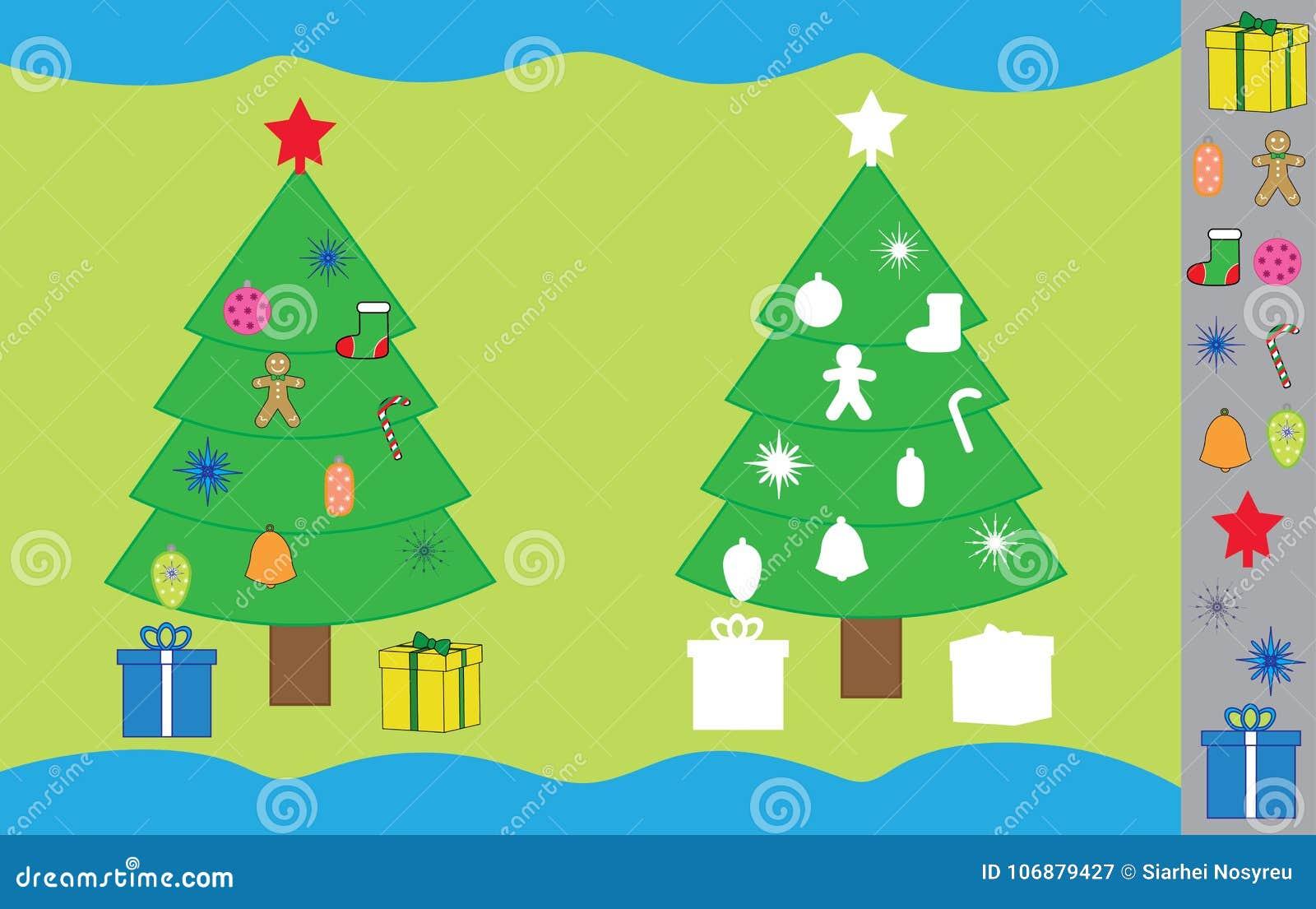Juego Con Ano Nuevo Arbol De Navidad De Las Etiquetas Engomadas