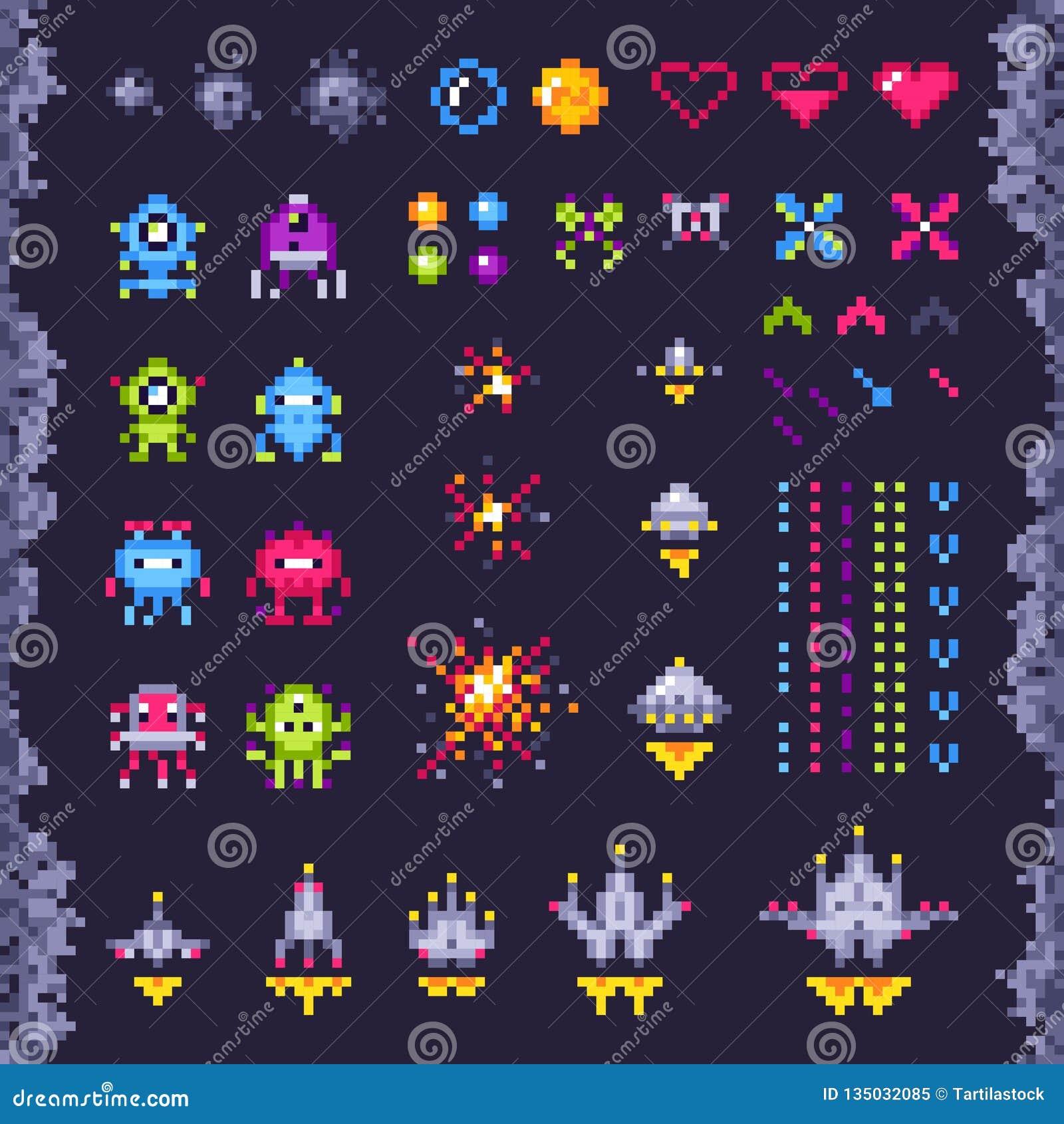 Juego de arcada retro del espacio Los invasores nave espacial, el monstruo del invasor del pixel y el arte retro del pixel de los