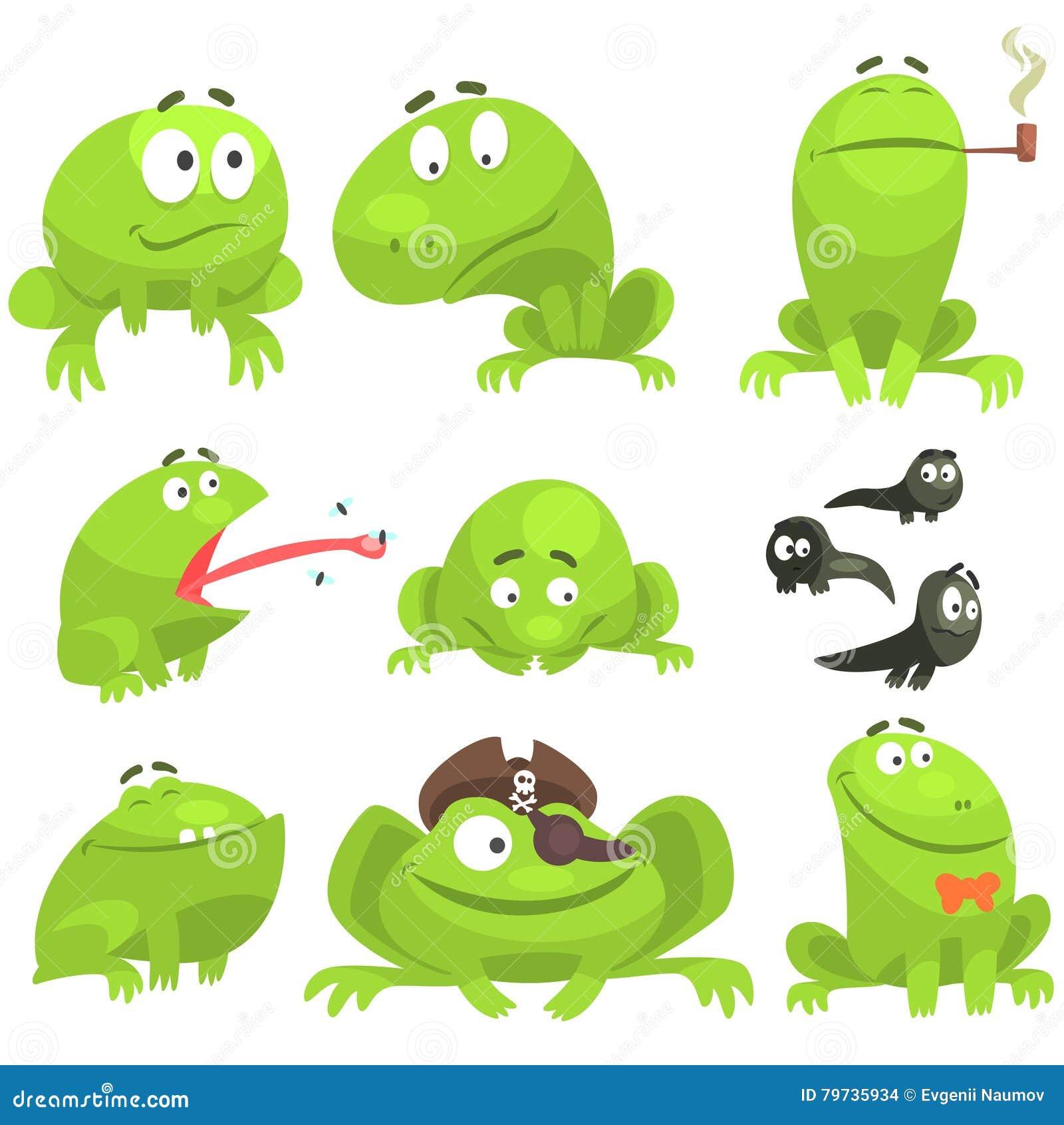 Juego de caracteres divertido de la rana verde de diversas emociones