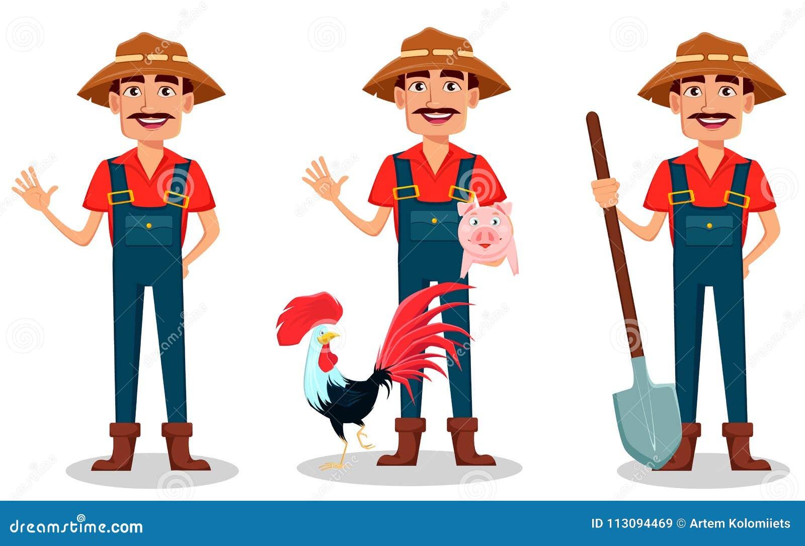 Juego de caracteres de la historieta del granjero El jardinero alegre agita la mano, se coloca con los animales del campo y los c