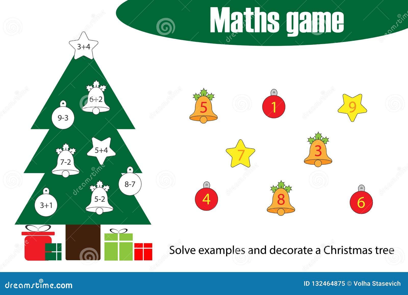 Juego De La Matematicas Con El Arbol De Navidad Para Los Ninos