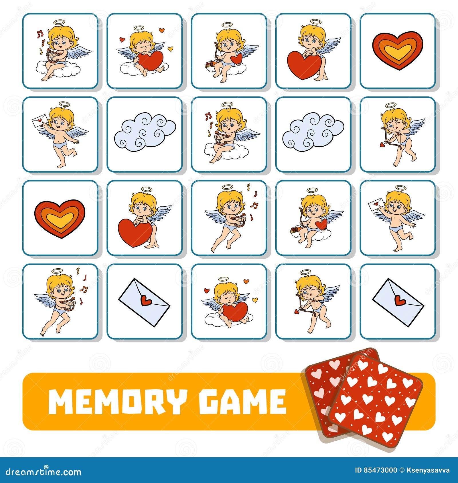 Juego De La Memoria Para Los Niños, Tarjetas Con ángeles Ilustración ...
