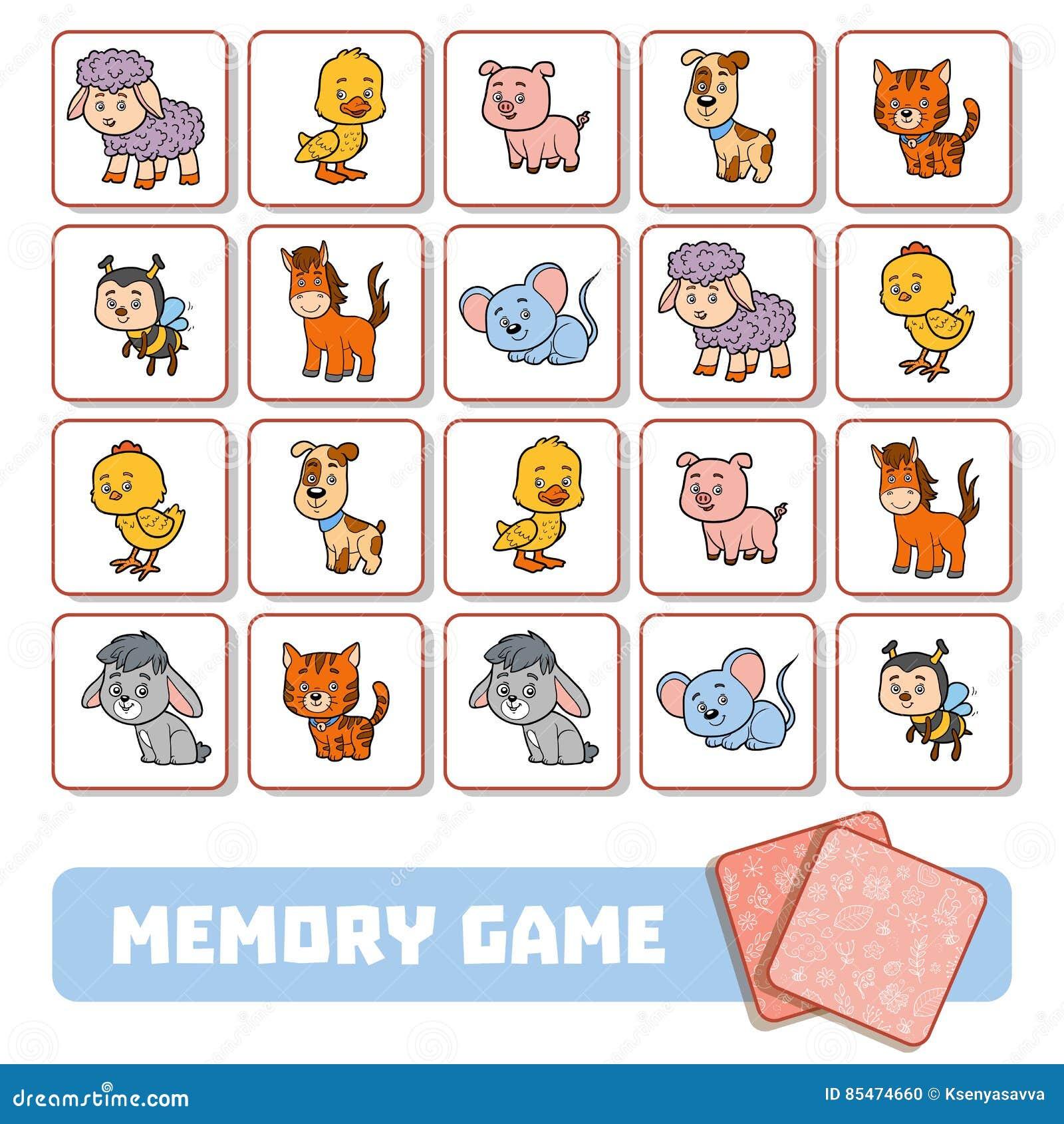 Juego De La Memoria Para Los Niños Tarjetas Con Los Animales Del Campo Ilustración Del Vector Ilustración De Mascota Caballo 85474660