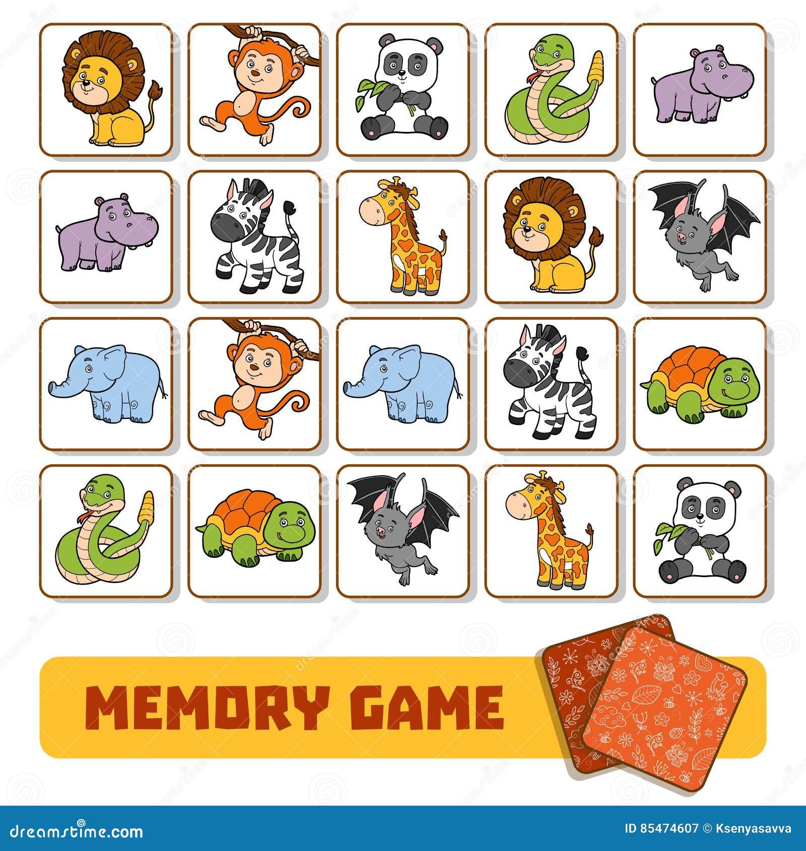 Juego De La Memoria Para Los Niños, Tarjetas Con Los Animales Del ...