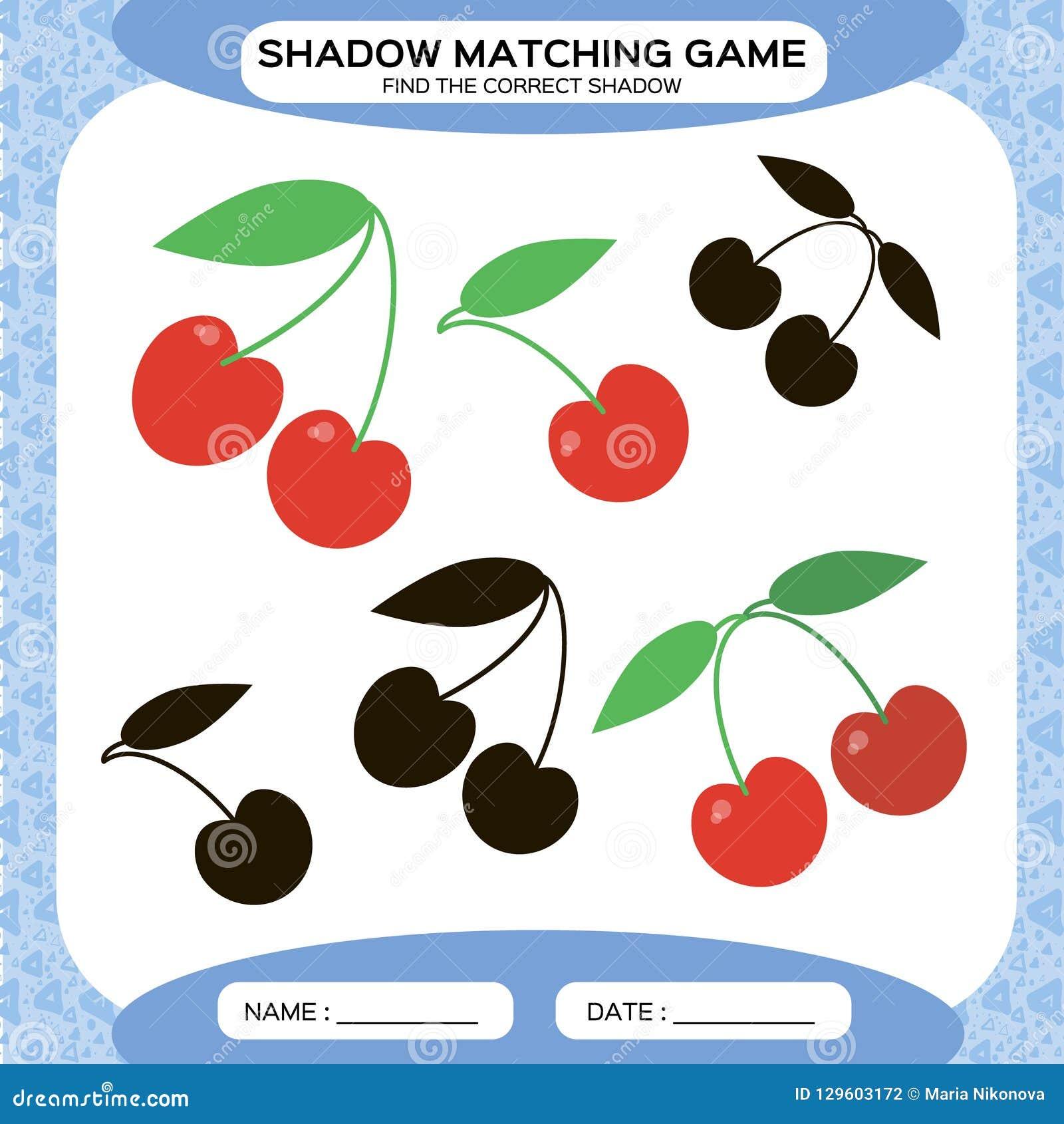 Juego a juego de la sombra Encuentre las sombras correctas Página de la actividad para los niños Hojas de trabajo de la guardería