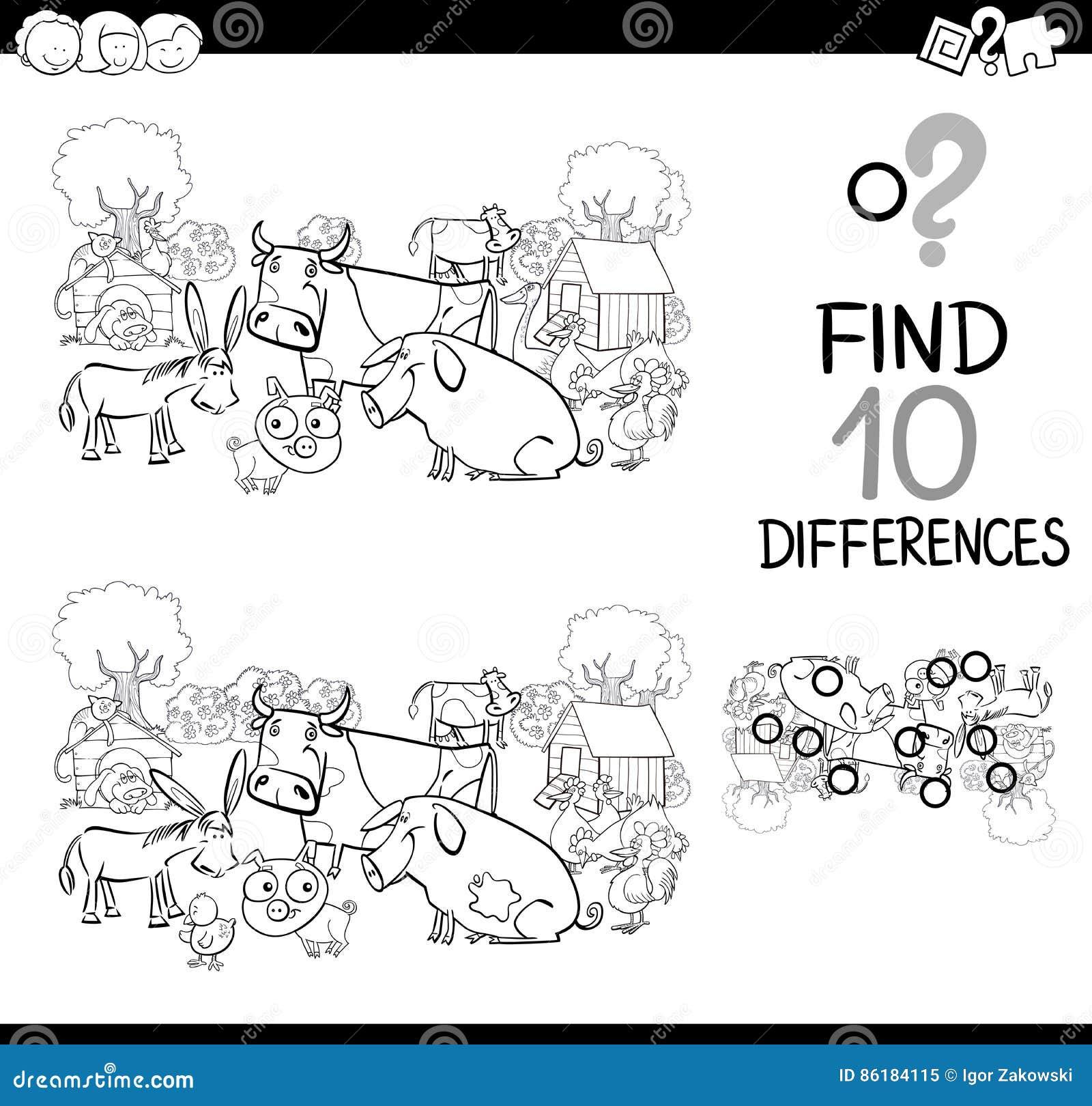 Juego De Los Animales Del Campo Para Colorear Ilustración del Vector ...