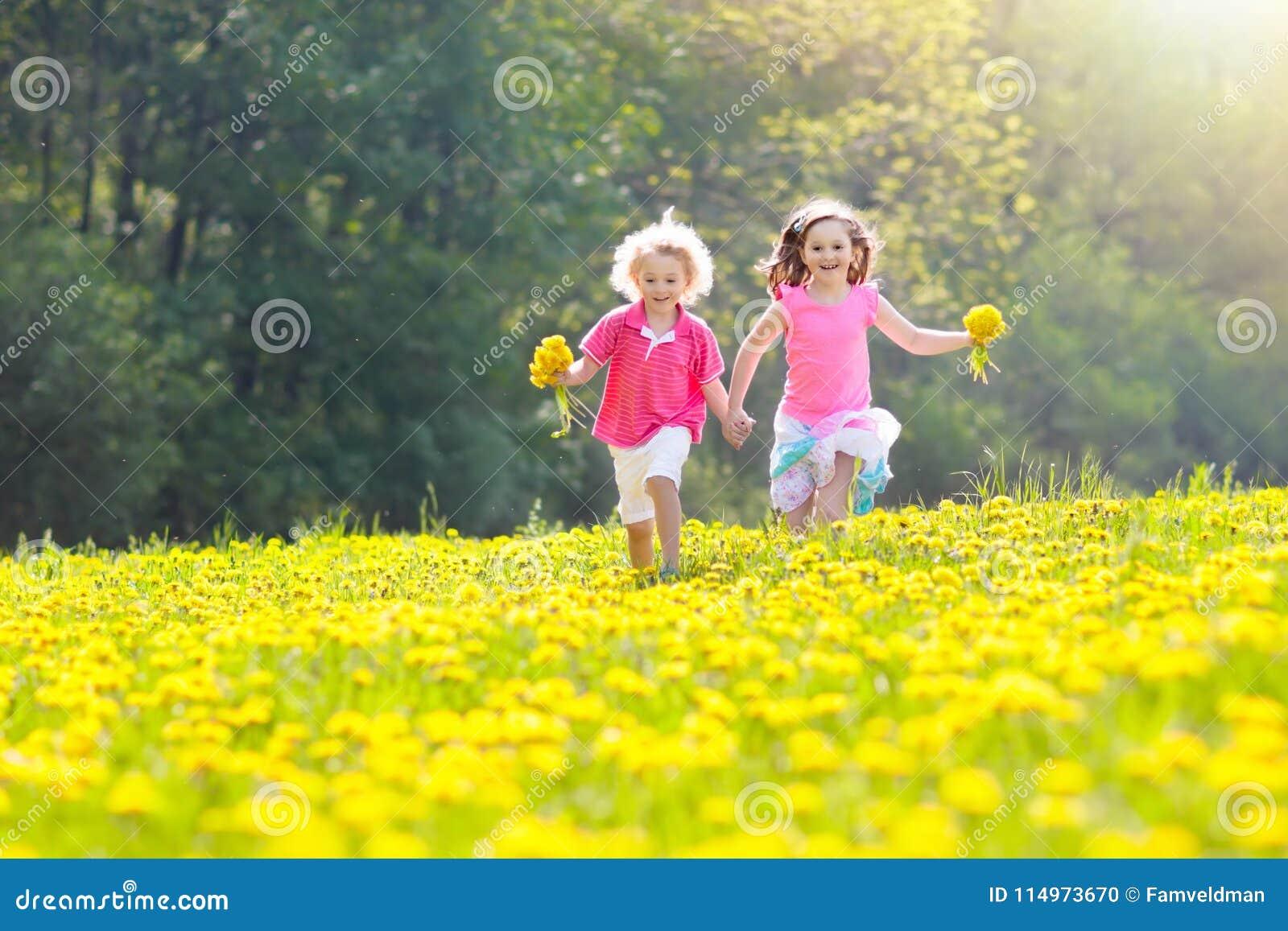 Juego de los niños Niño en campo del diente de león Flor del verano
