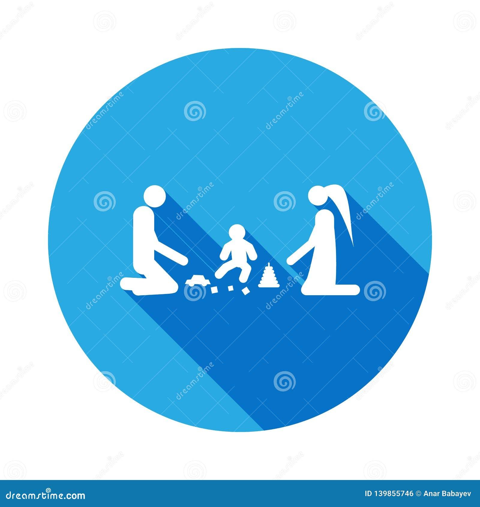 Juego de los padres con el icono del niño Elemento del ejemplo casado vida de la gente Muestras e icono para los sitios web, web