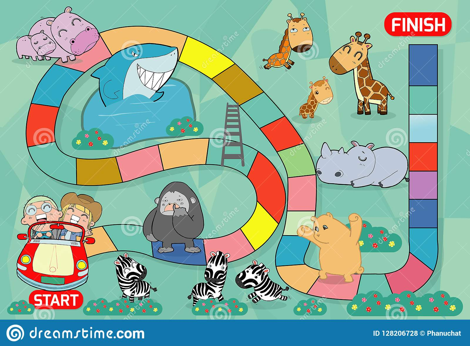Juego de mesa con el parque zoológico, ejemplo de un juego de mesa con el fondo del parque zoológico embroma los animales juego d