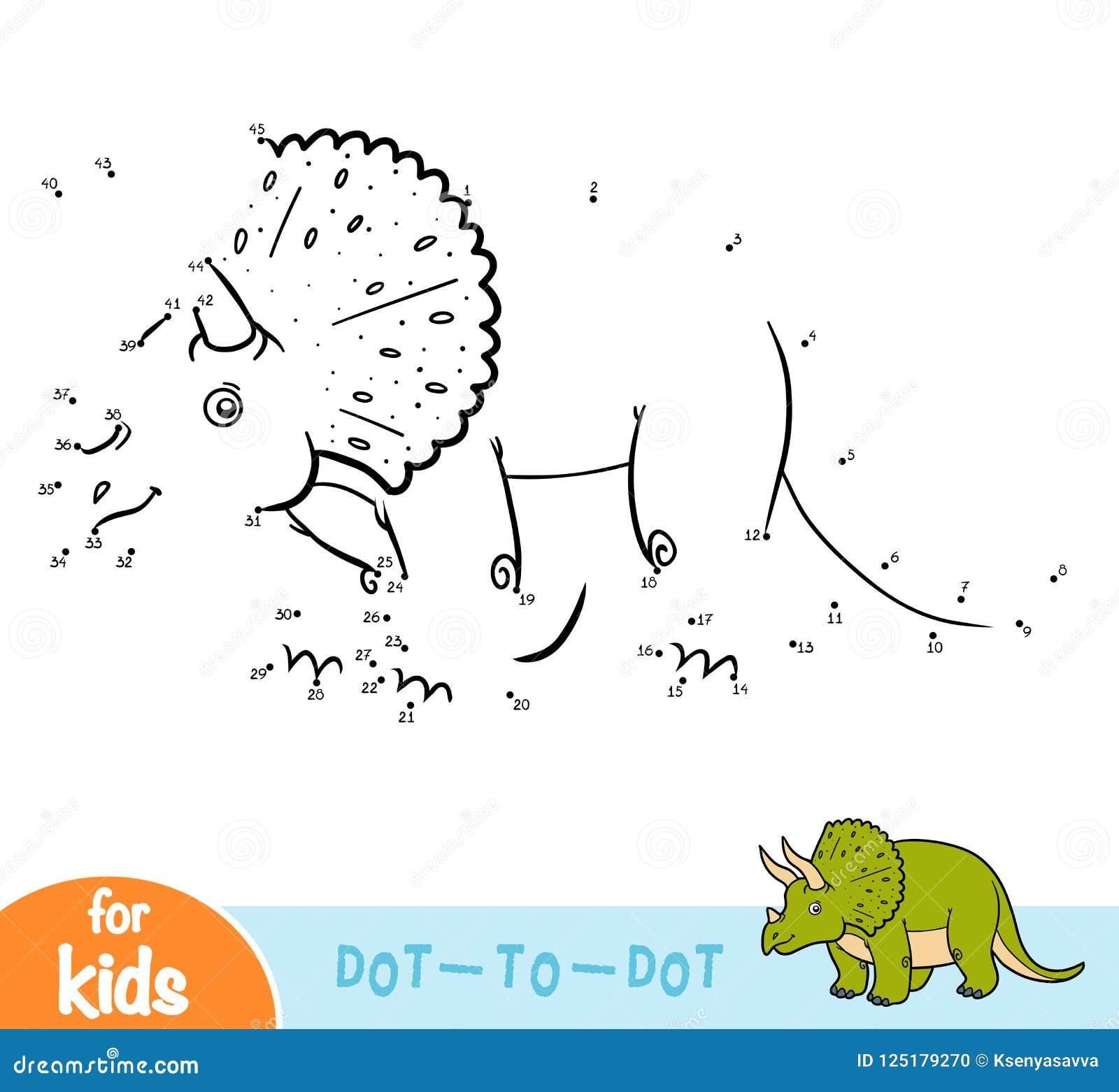 Juego de números, juego para los niños, Triceratops de la educación