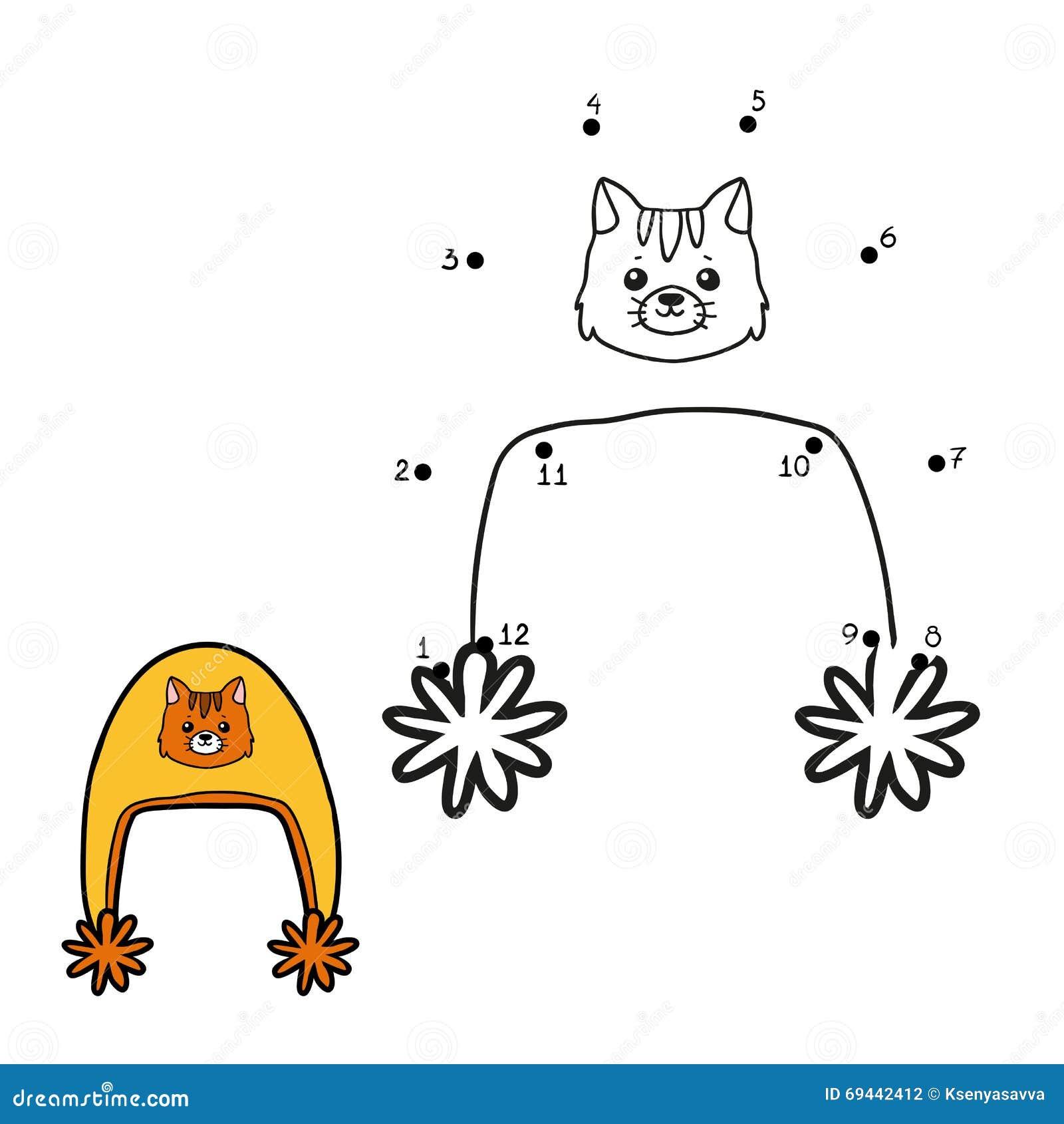 Juego De Números, Punto A Puntear, Sombrero Con El Gato Del Invierno ...