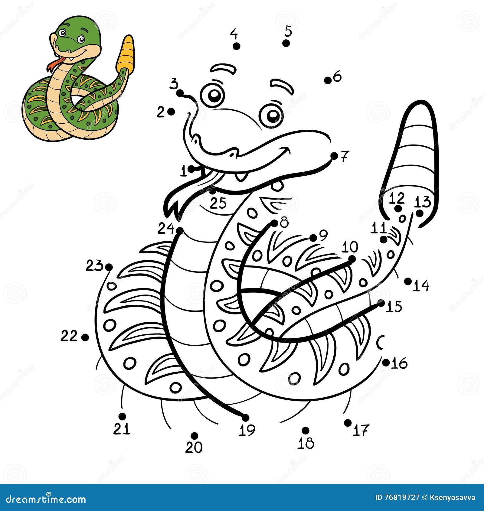 Juego De Números, Serpiente De Cascabel Ilustración del Vector ...