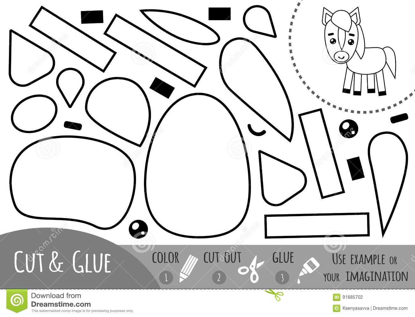 Juego De Papel Para Los Ninos Caballo De La Educacion Ilustracion