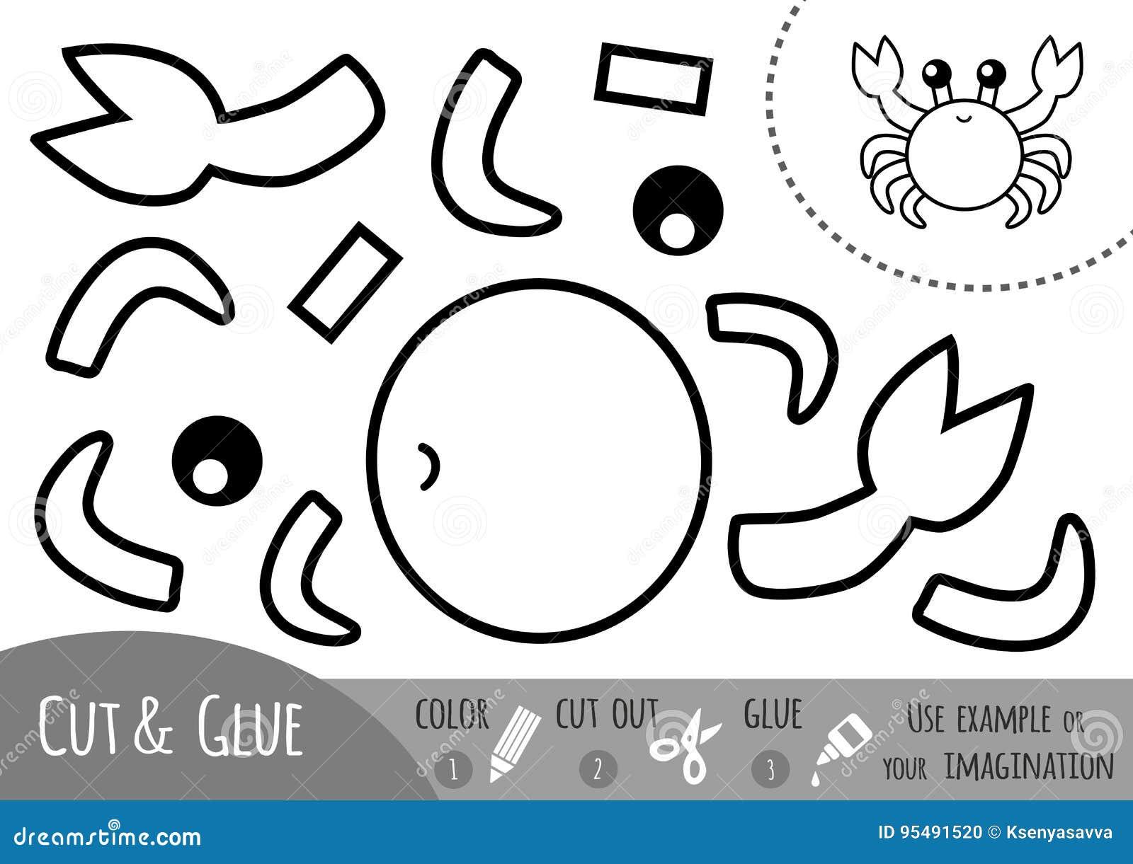 Juego De Papel Para Los Ninos Cangrejo De La Educacion Ilustracion
