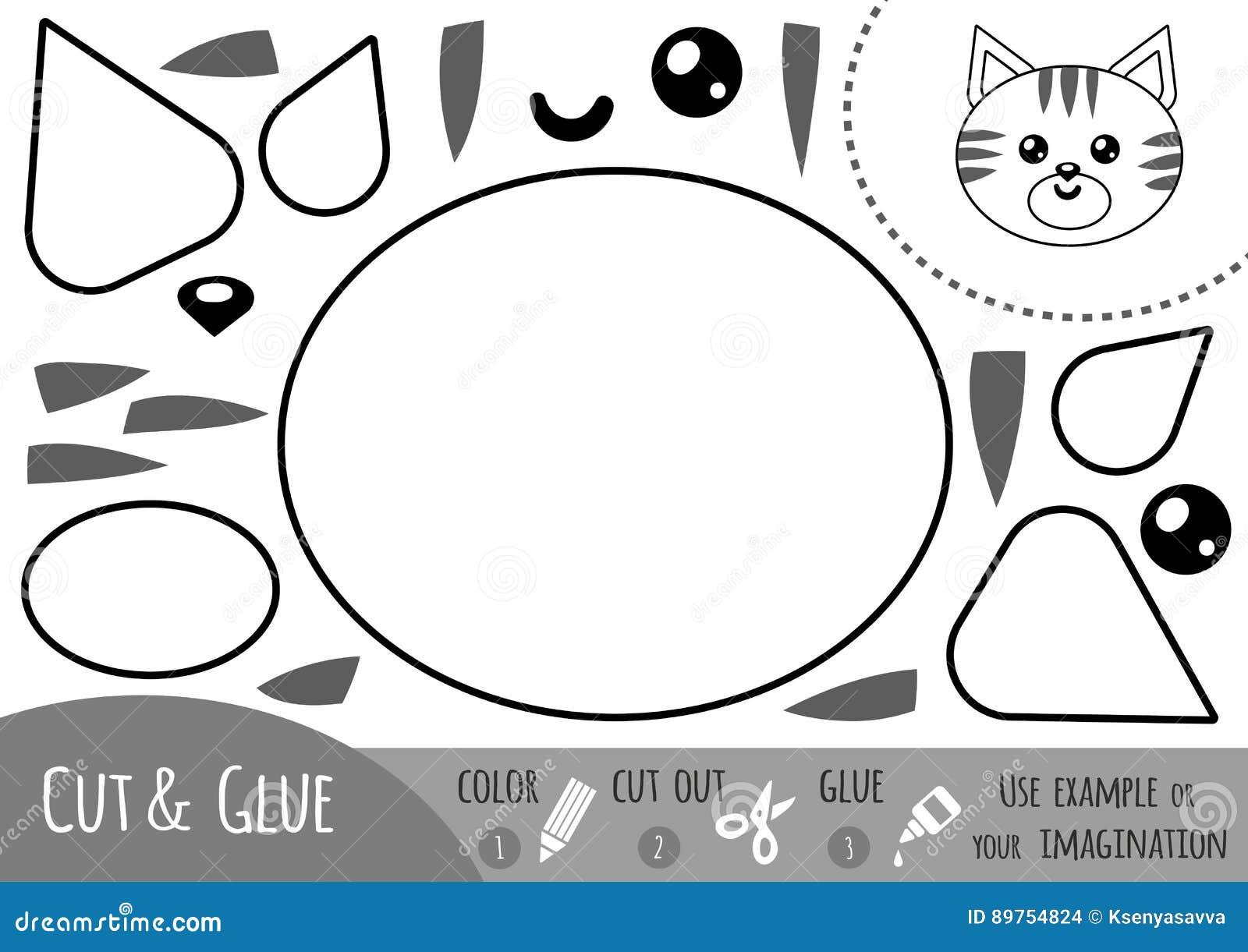 Juego De Papel Para Los Ninos Gato De La Educacion Ilustracion Del