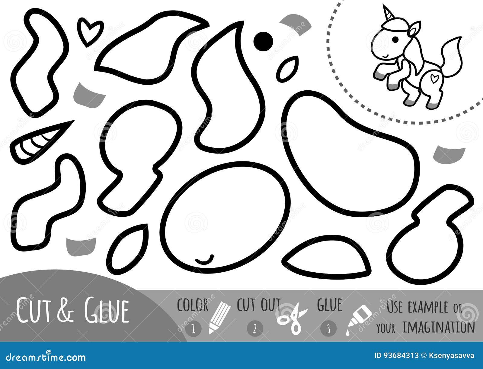 Juego De Papel Para Los Ninos Unicornio De La Educacion Ilustracion