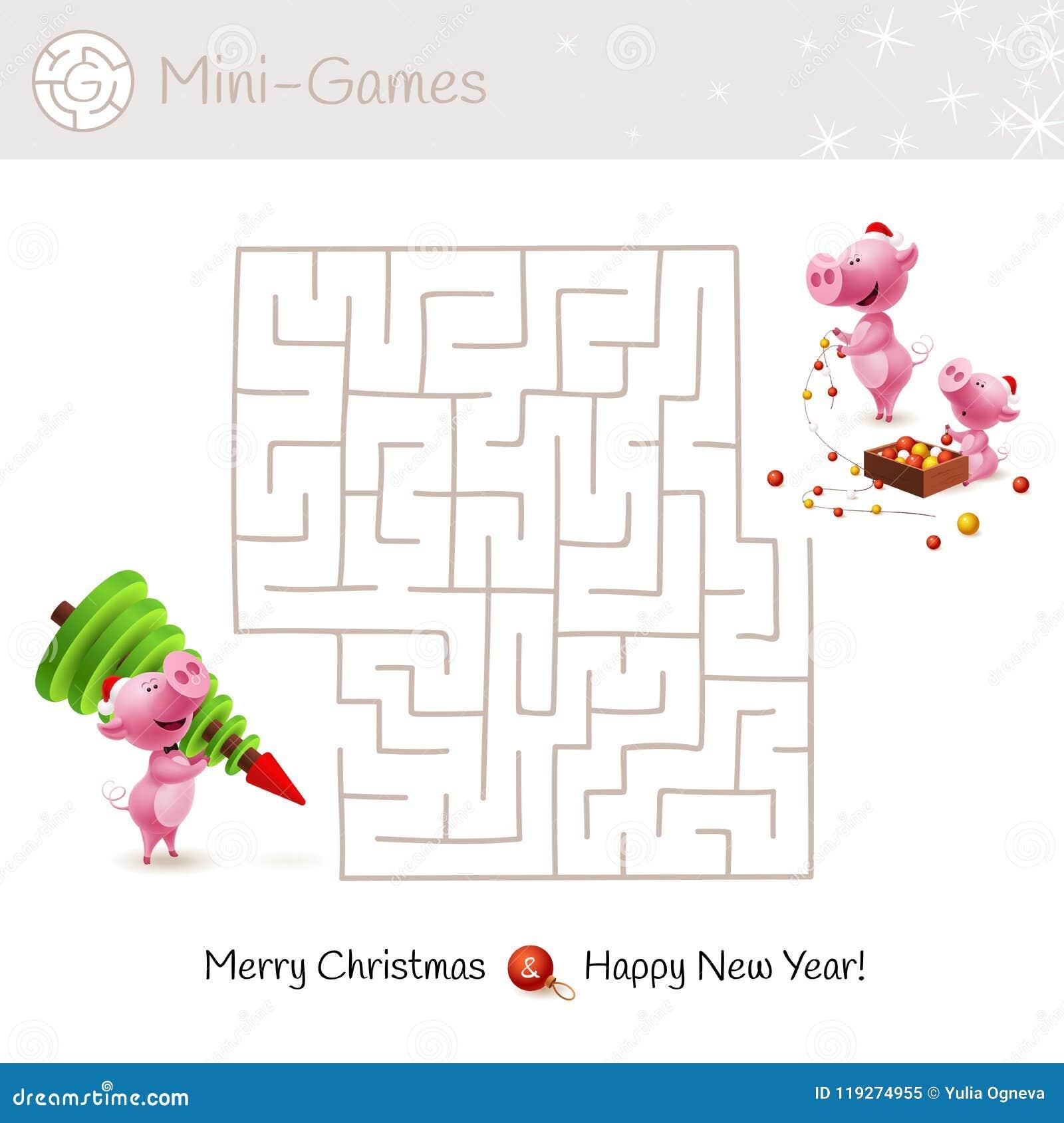 Juego Del Laberinto De La Navidad Para Los Ninos Del Preescolar Y De