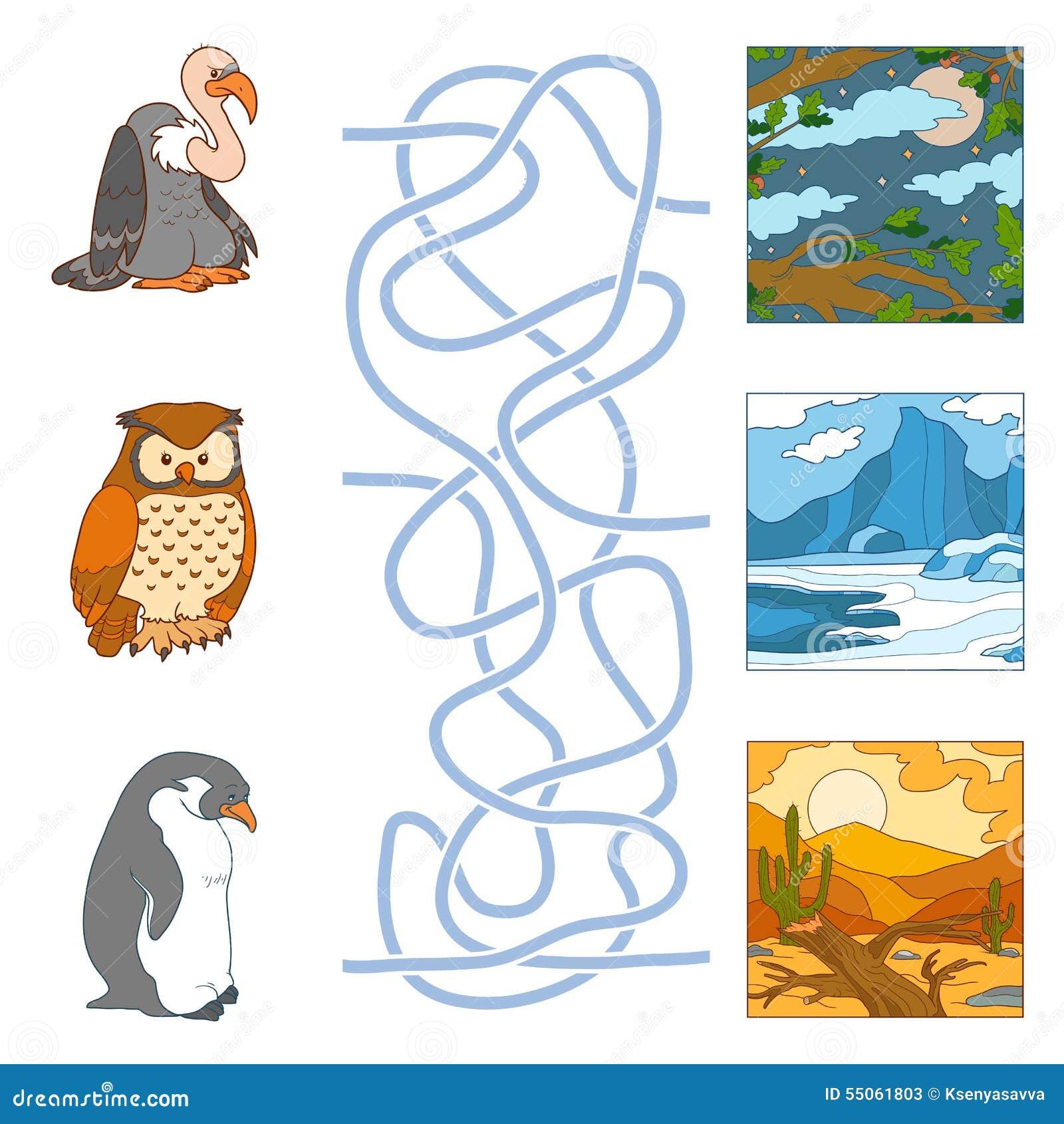 Juego Del Laberinto (pájaros Y Hábitat) Ilustración del Vector ...