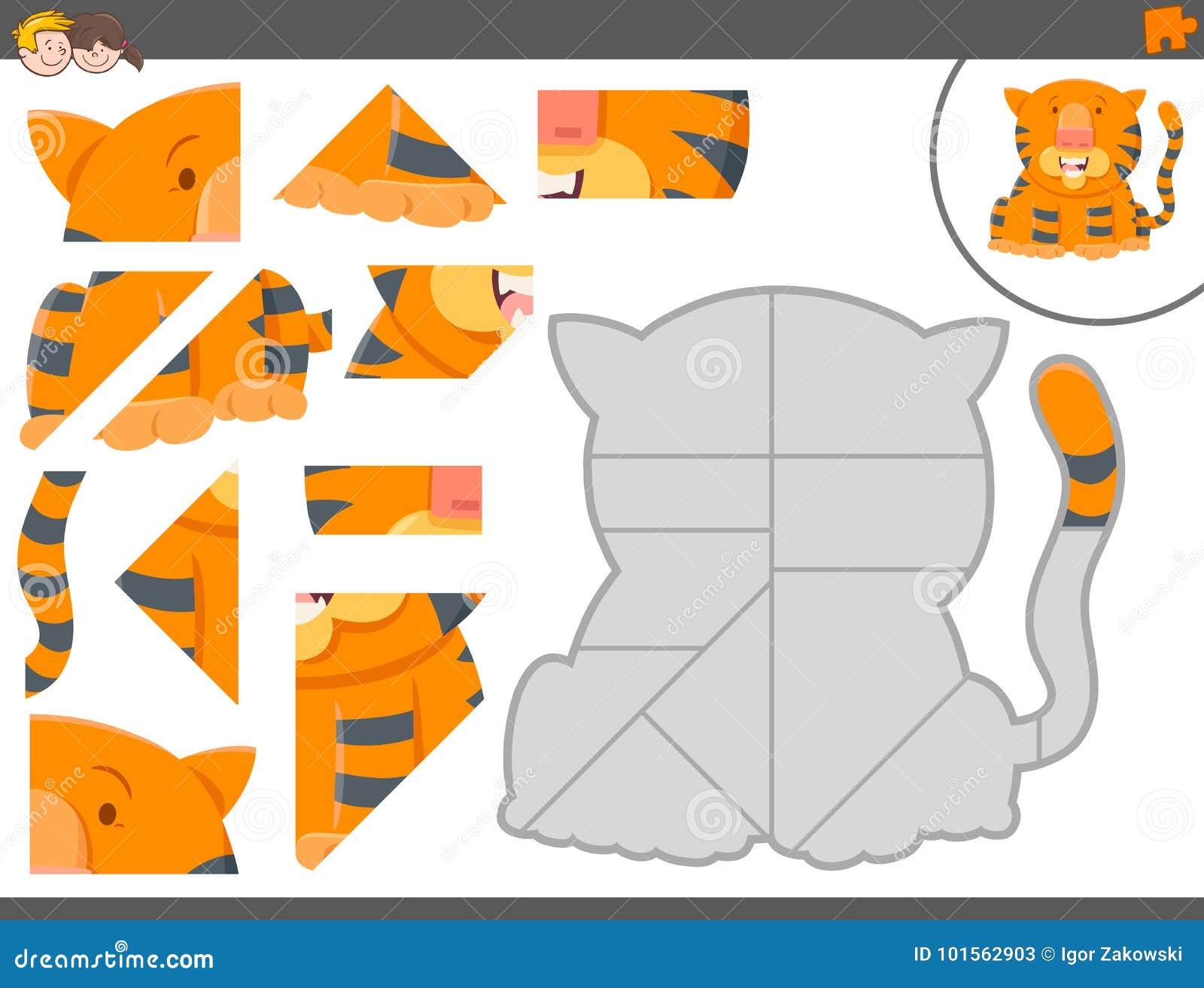 Juego Del Rompecabezas Con El Animal Del Tigre Ilustracion Del