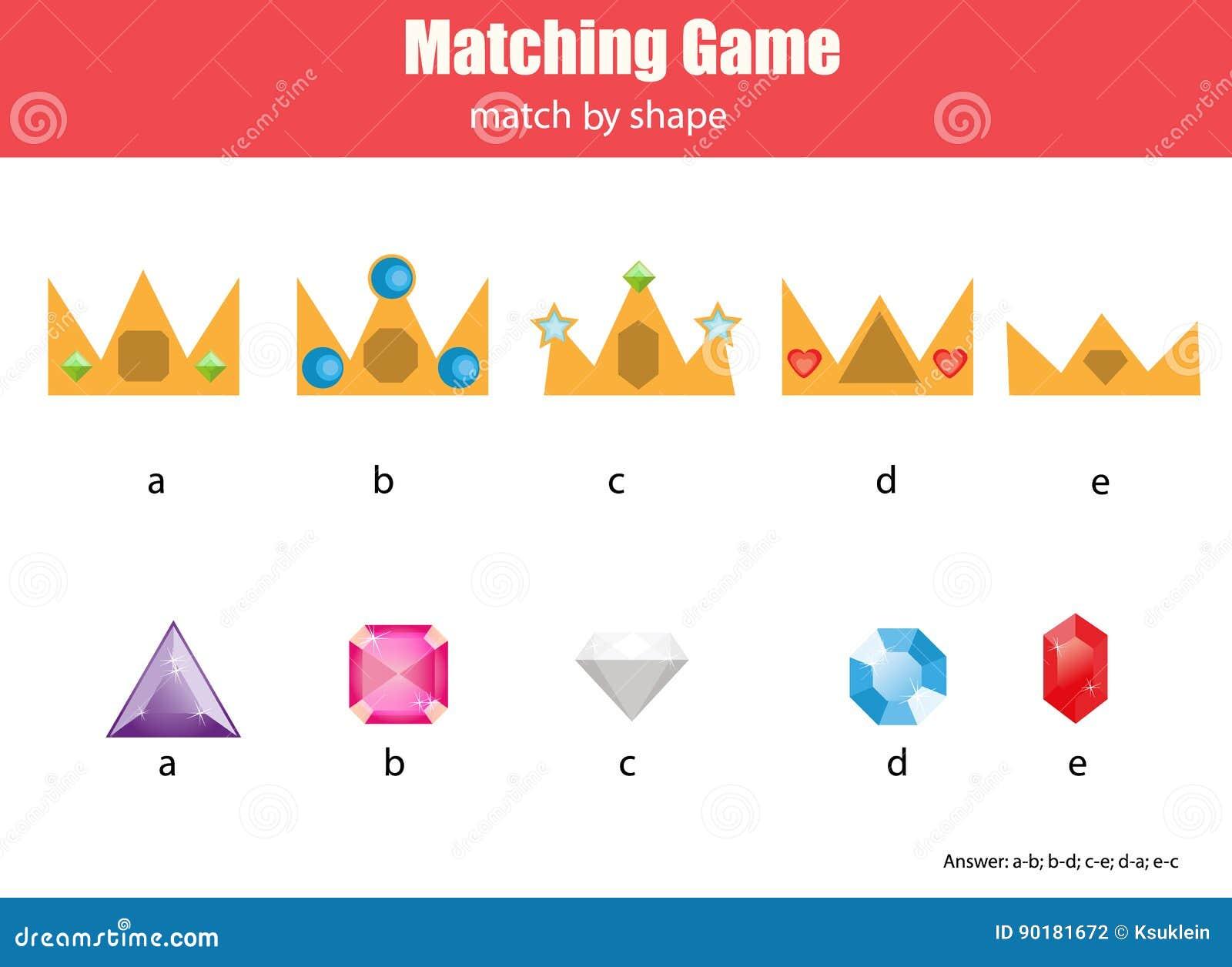 Juego educativo de los niños a juego Haga juego las coronas y los diamantes, aprendiendo actividad geométrica de los niños de las
